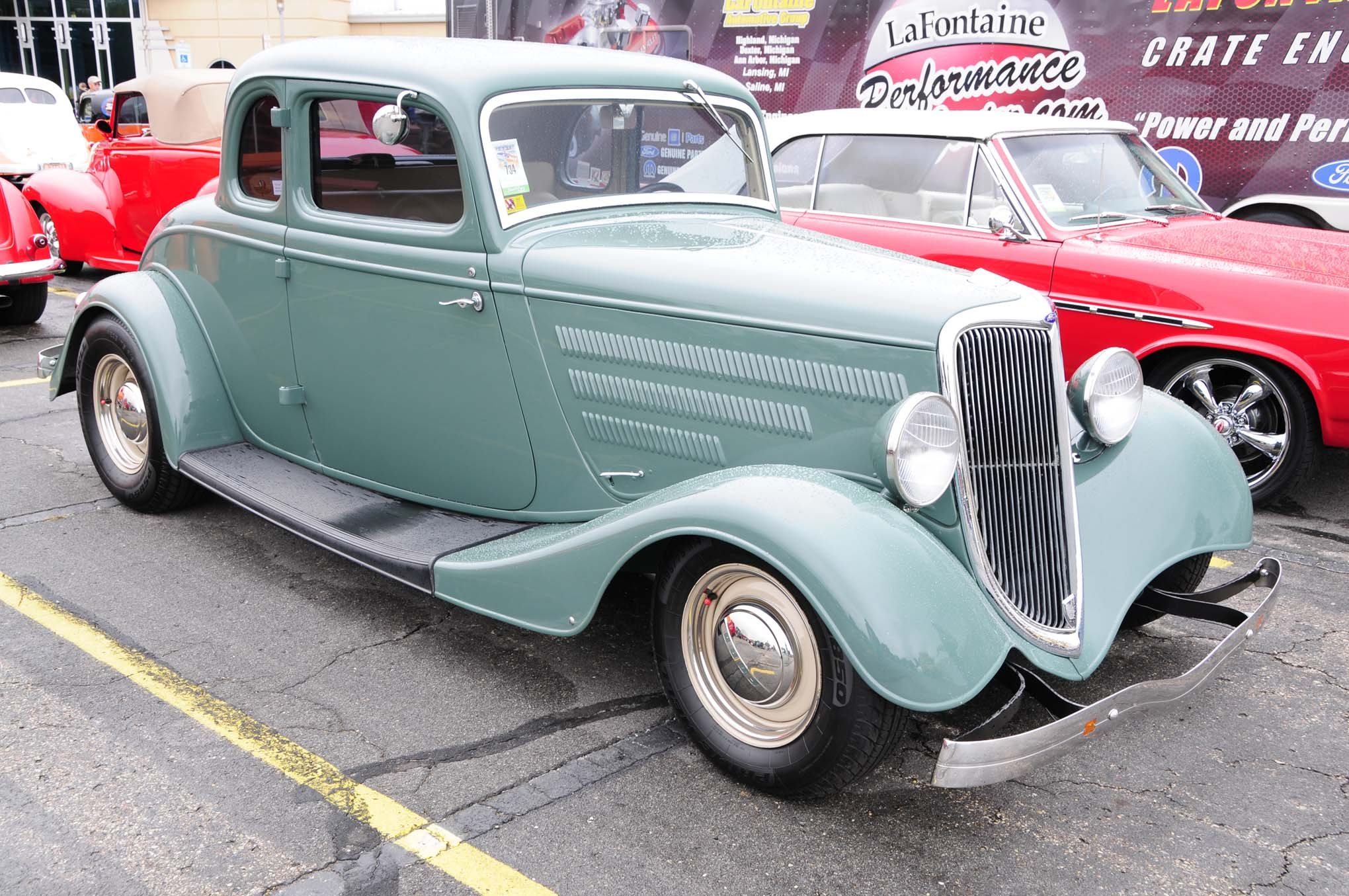 It's hard to beat the factory lines of a 1934 Ford five-window coupe, so Walt Dochod covered his in a very subtle gray-green, set the stance and hit the road.