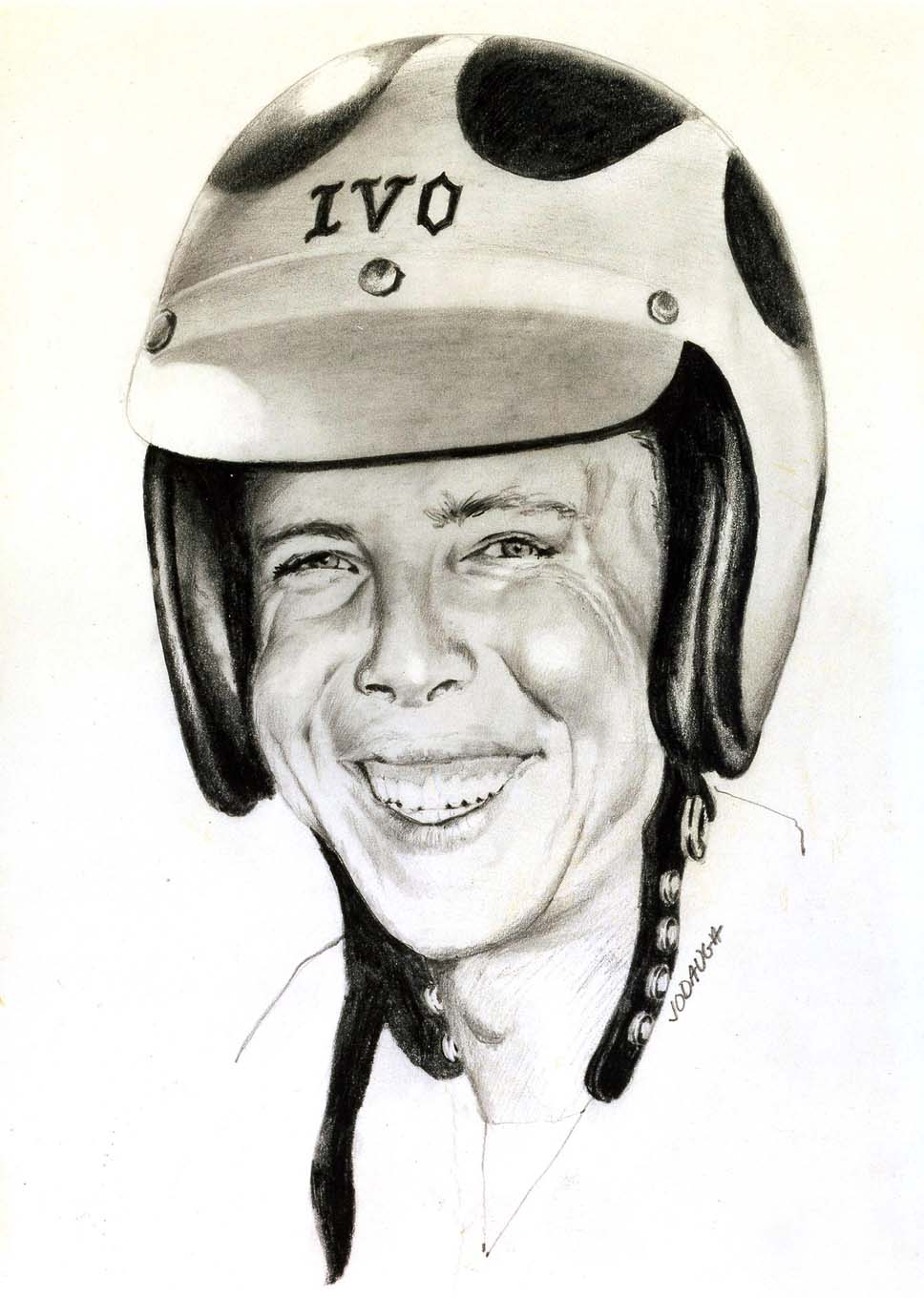 Jodauga's first published artwork was a series of portraits done in pencil for Personality Profile articles in Drag Racing Magazine in 1967 and 1968, such as this example of Tommy Ivo.