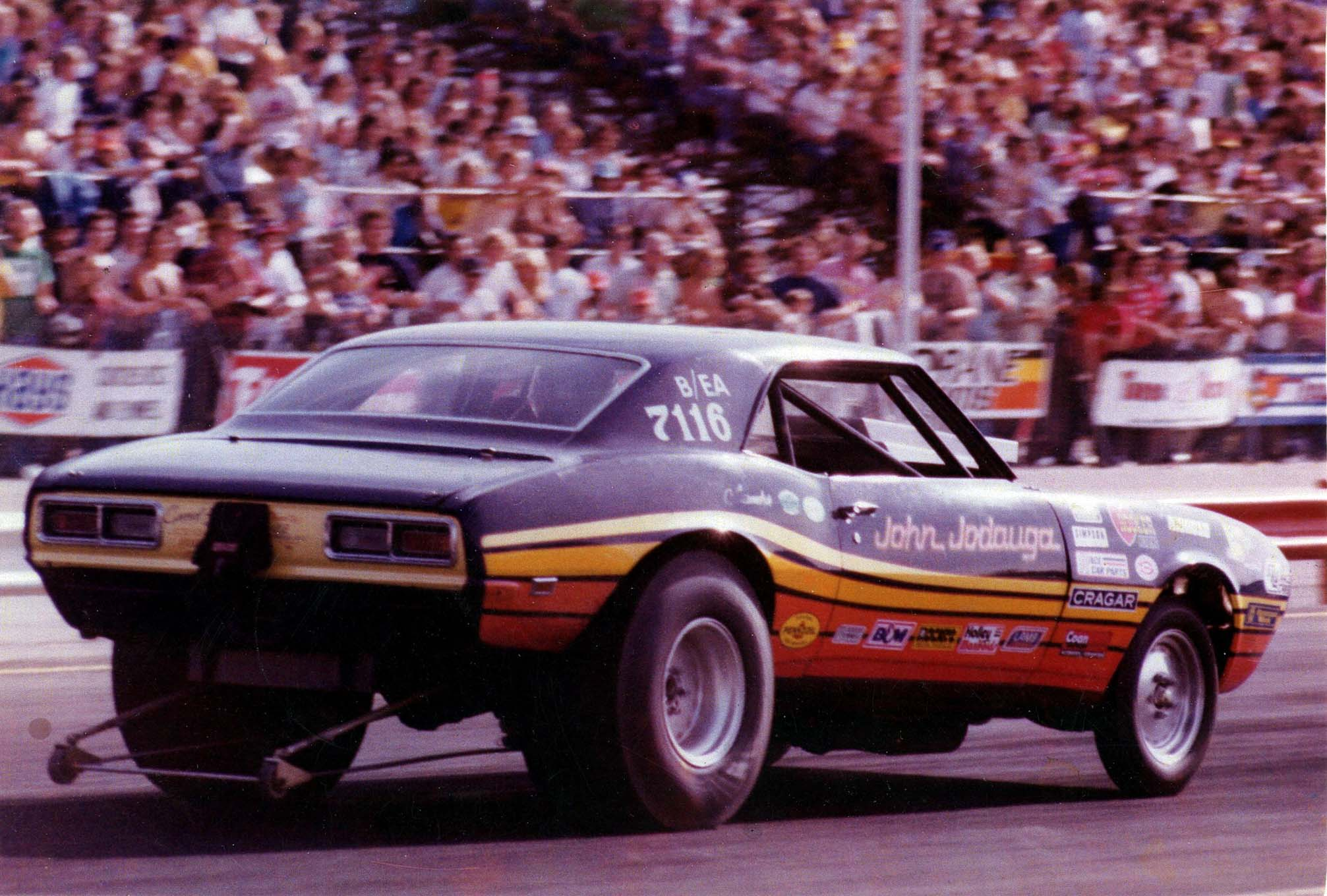 The Camaro ran in B/Econo Altered from 1977–1979 and then in Super Gas in 1980. It is shown here at the first national event that hosted Super Gas, the 1980 Winternationals, where it ran a 9.809 on the then-9.80 index—before the advent of the throttle stop.