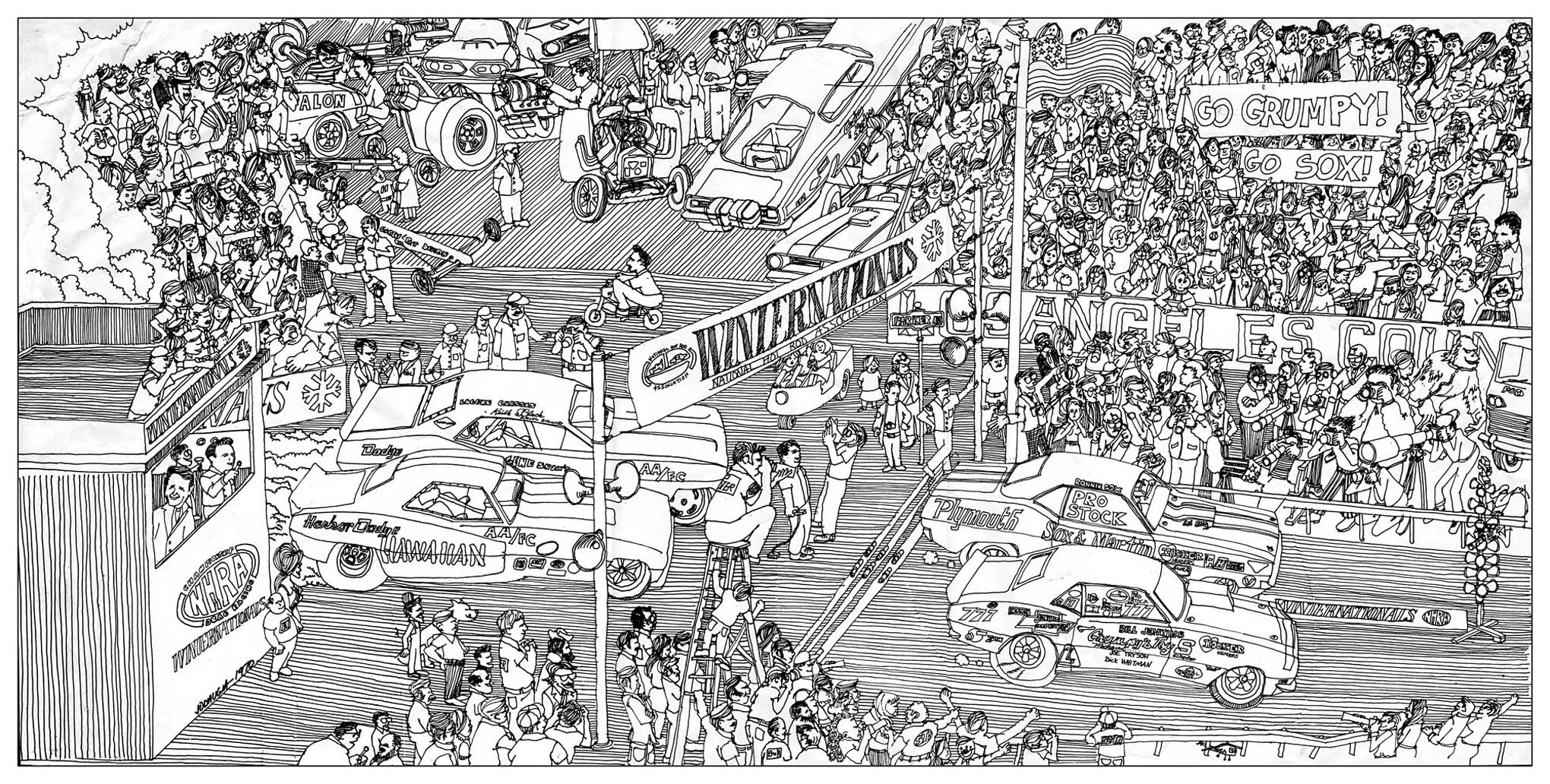 This illustration for Car Craft's coverage of the 1970 Winternationals is one of John's favorites. John filled the grandstands and pit area with likenesses of drag-racing and pop-culture personalities along with assorted generic figures.