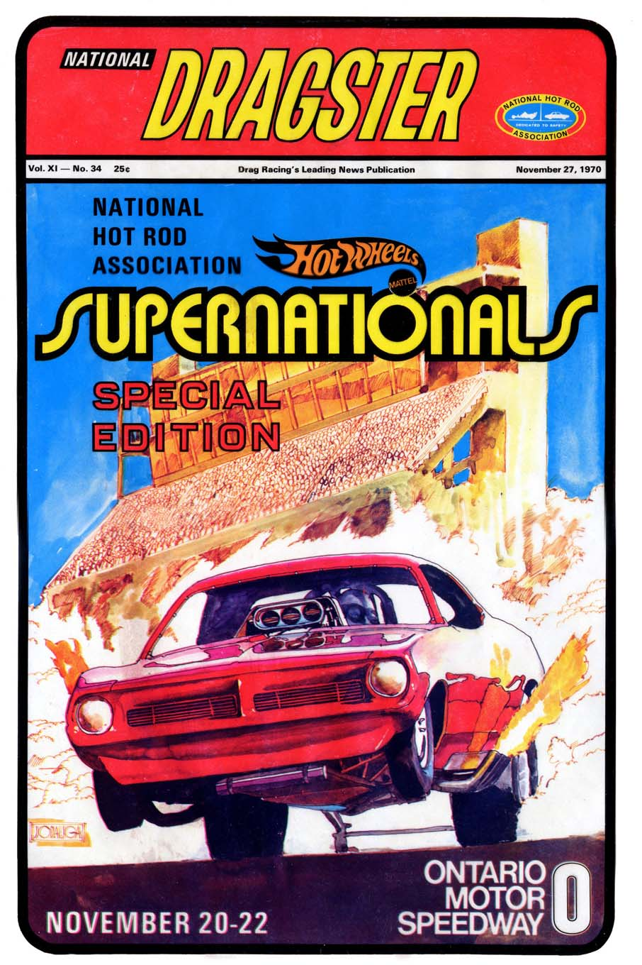 This artwork for the Supernationals Special Edition of National DRAGSTER was the first of many covers that he did for the NHRA official publication.