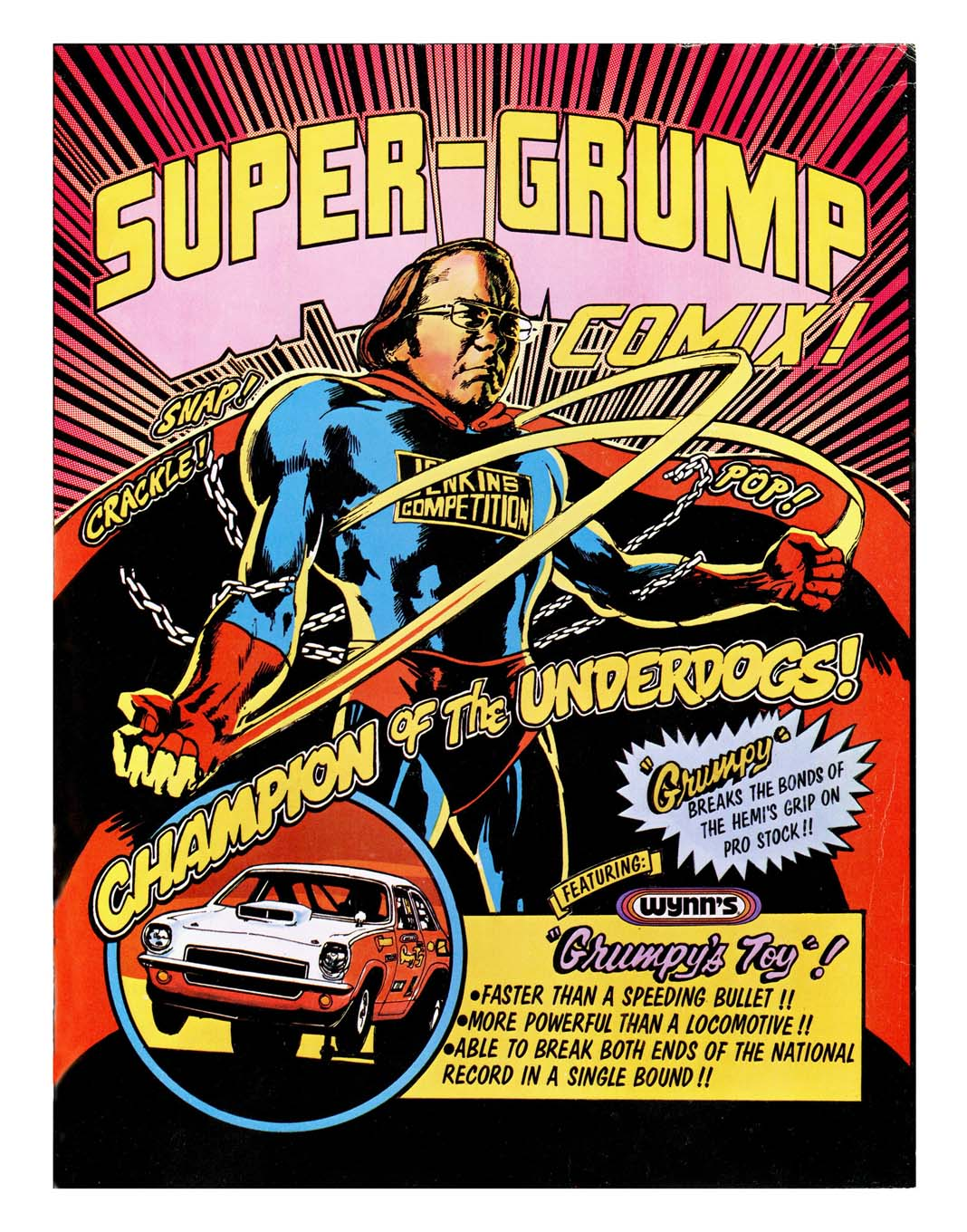 After doing conventional covers for Jenkins for the first three years, Jodauga used a more creative approach in 1973 to celebrate the Grump's standout season with his all-conquering Vega. Although Bill initially balked the idea of wearing a Superman-like outfit, he eventually relented and in later years grew to like the idea.