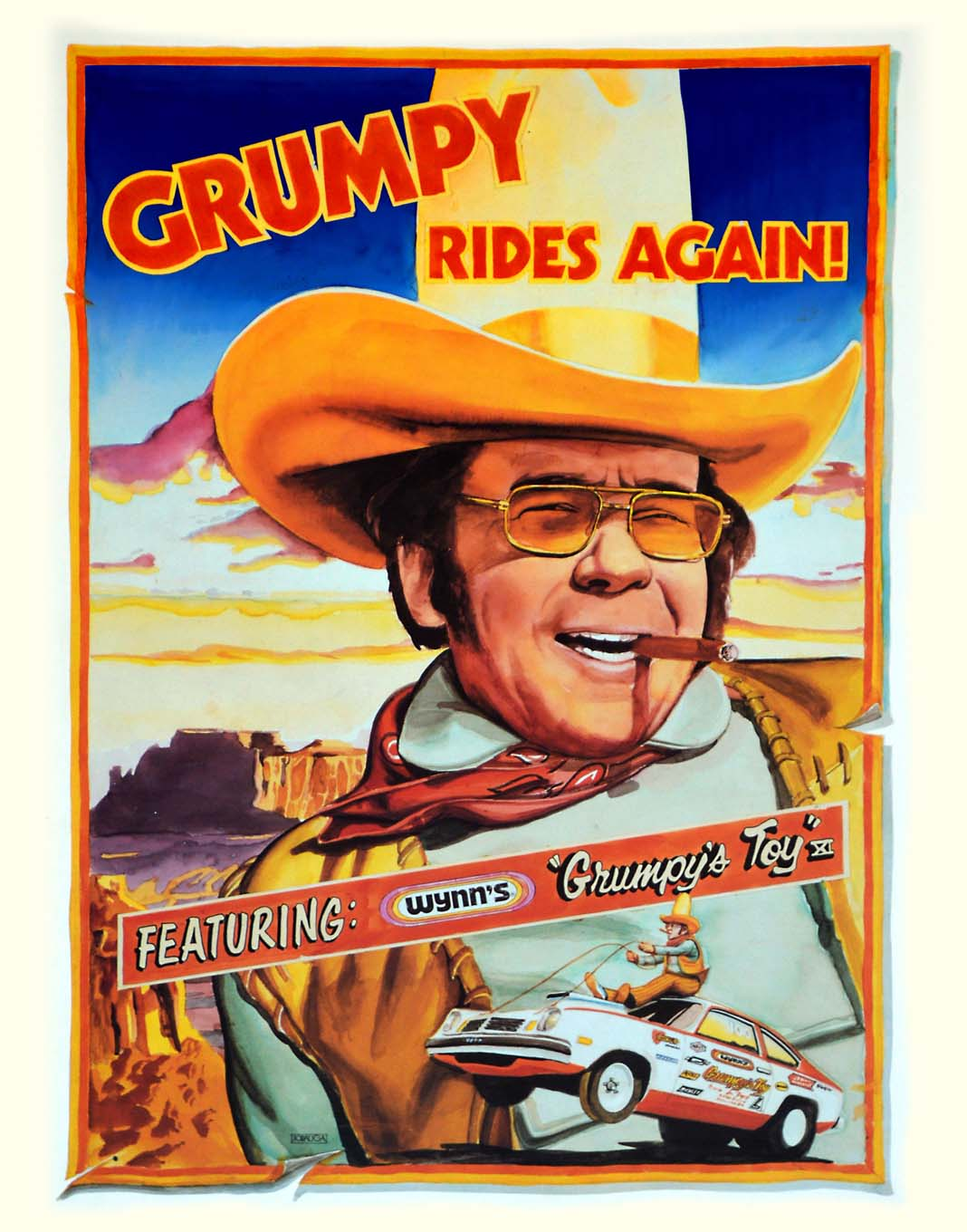 "This is the follow-up press-kit cover to the ""Super Grump Comix"" version. Jenkins actually enjoyed putting on the cowboy outfit, which was rented from a movie costume warehouse, and he did it in the pits at Ontario Motor Speedway during the 1973 Supernationals. About 300 fans gathered around the photo shoot to take their own pictures as well."