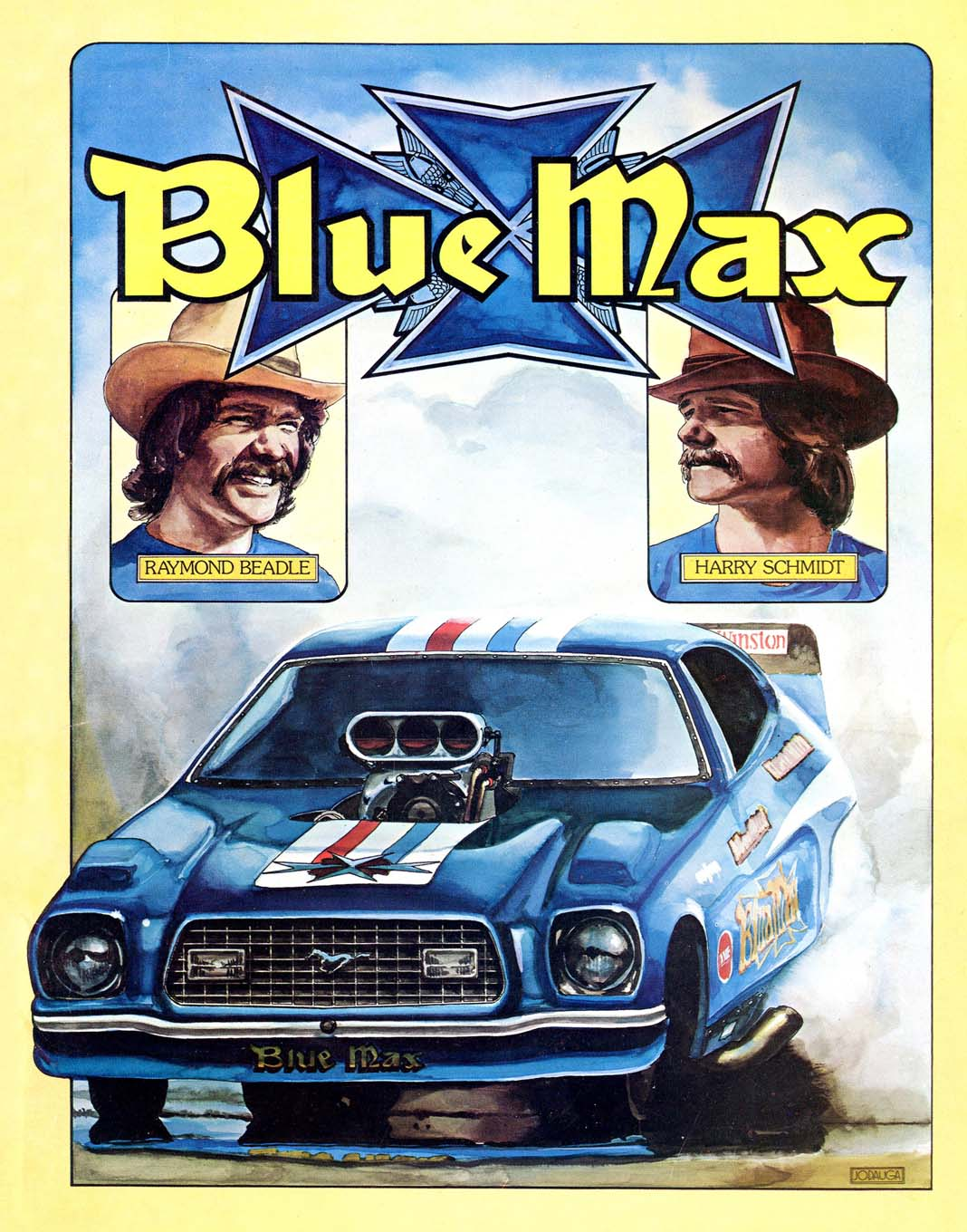 By the mid-1970s, Jodauga was doing press-kit covers for a number of the sport's major stars, including Raymond Beadle, Don Prudhomme, Gapp & Roush, Bob Glidden, Wally Booth, Maskin & Kanners, and many others.