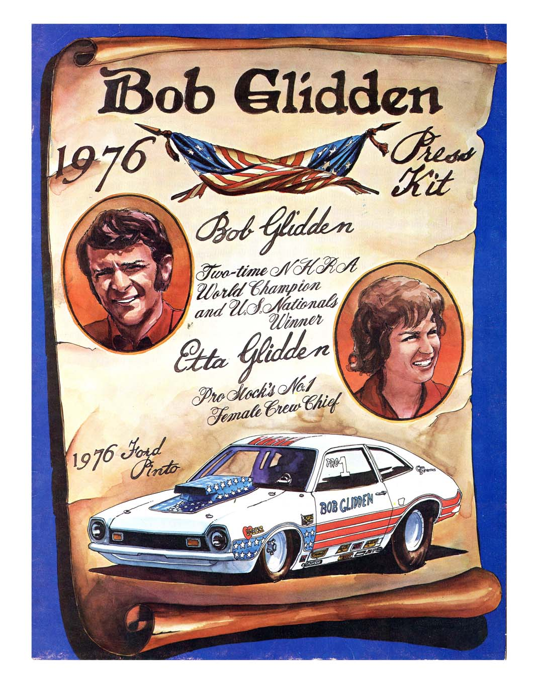 This press-kit cover for Bob Glidden featured the bicentennial theme that was so prevalent during the 1976 season.