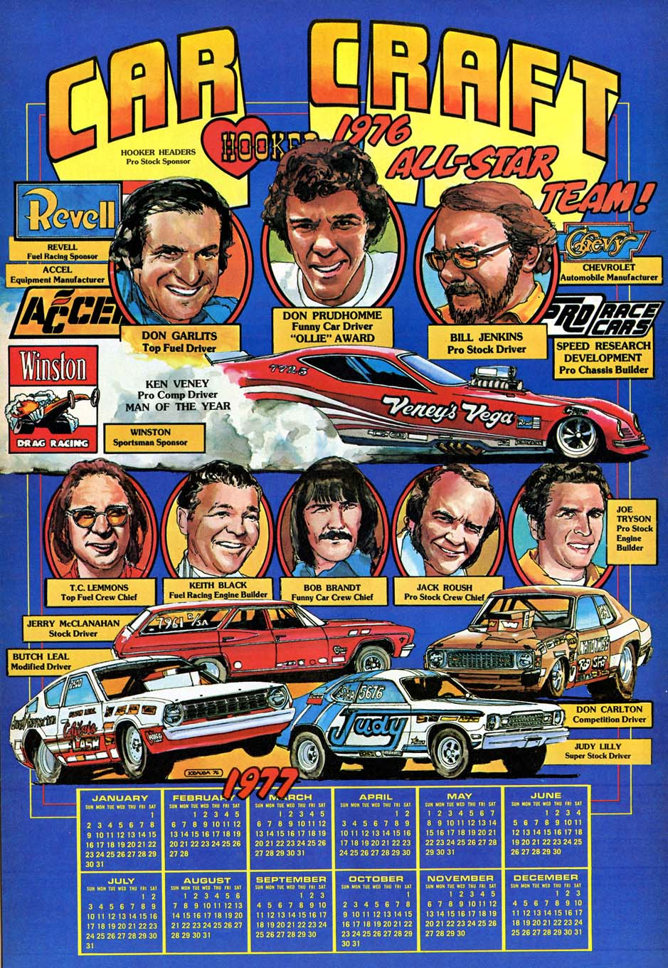From the 1970s through the 1990s, Jodauga did several centerspread illustrations that featured the members of each year's Car Craft All-Star Drag Racing teams, including this example in 1976.