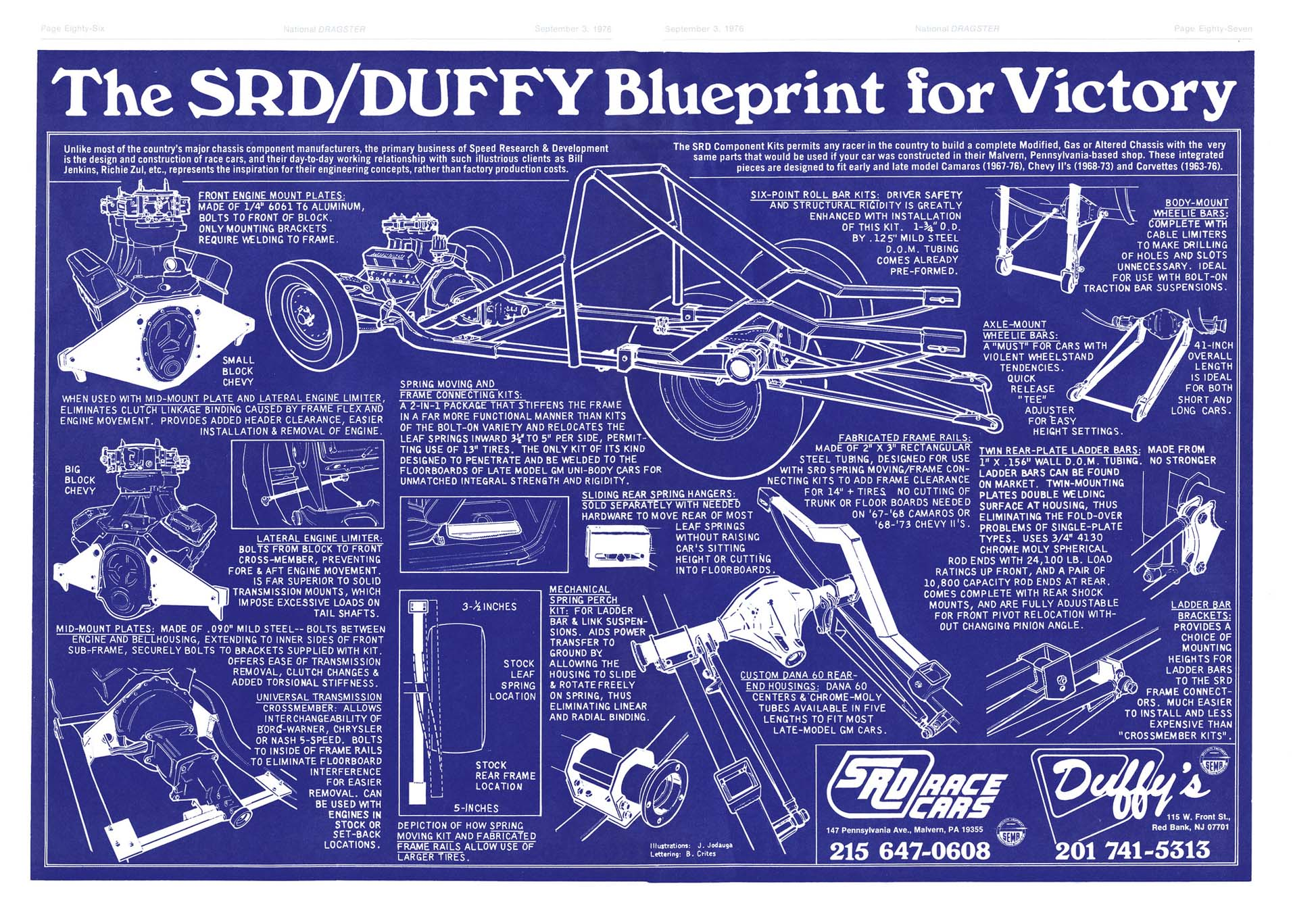 "Jodauga always strived for a ""different"" look to make his clients' ads stand out from the competition in the drag-racing periodicals, such as this blueprint approach for SRD Race Cars in Malvern, Pennsylvania."