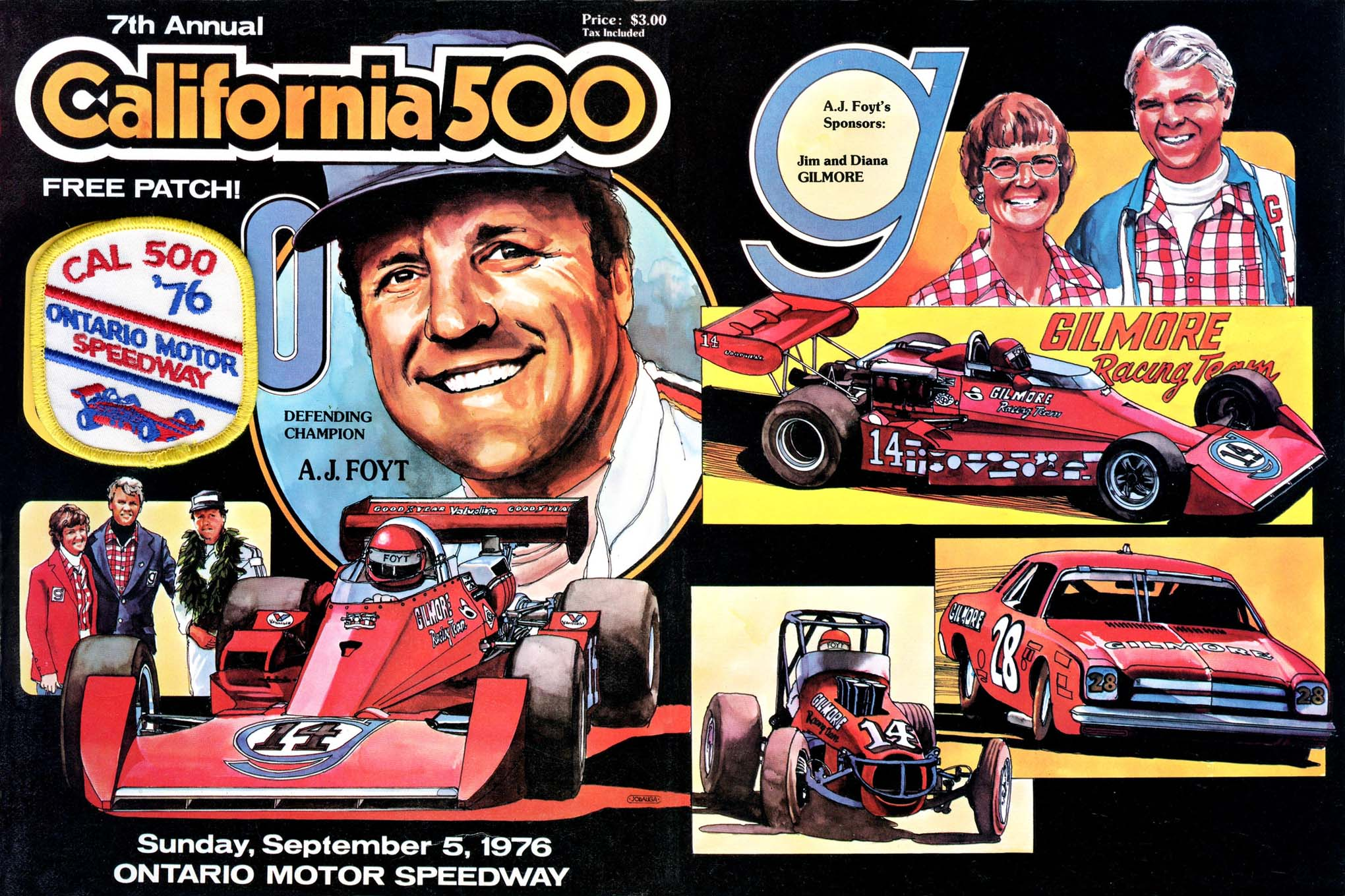 During the 1970s, John branched out from drag racing to other forms of motorsports and did a series of program covers for Ontario Motor Speedway's California 500. He did this one featuring Indy Car legend A.J. Foyt in 1977.