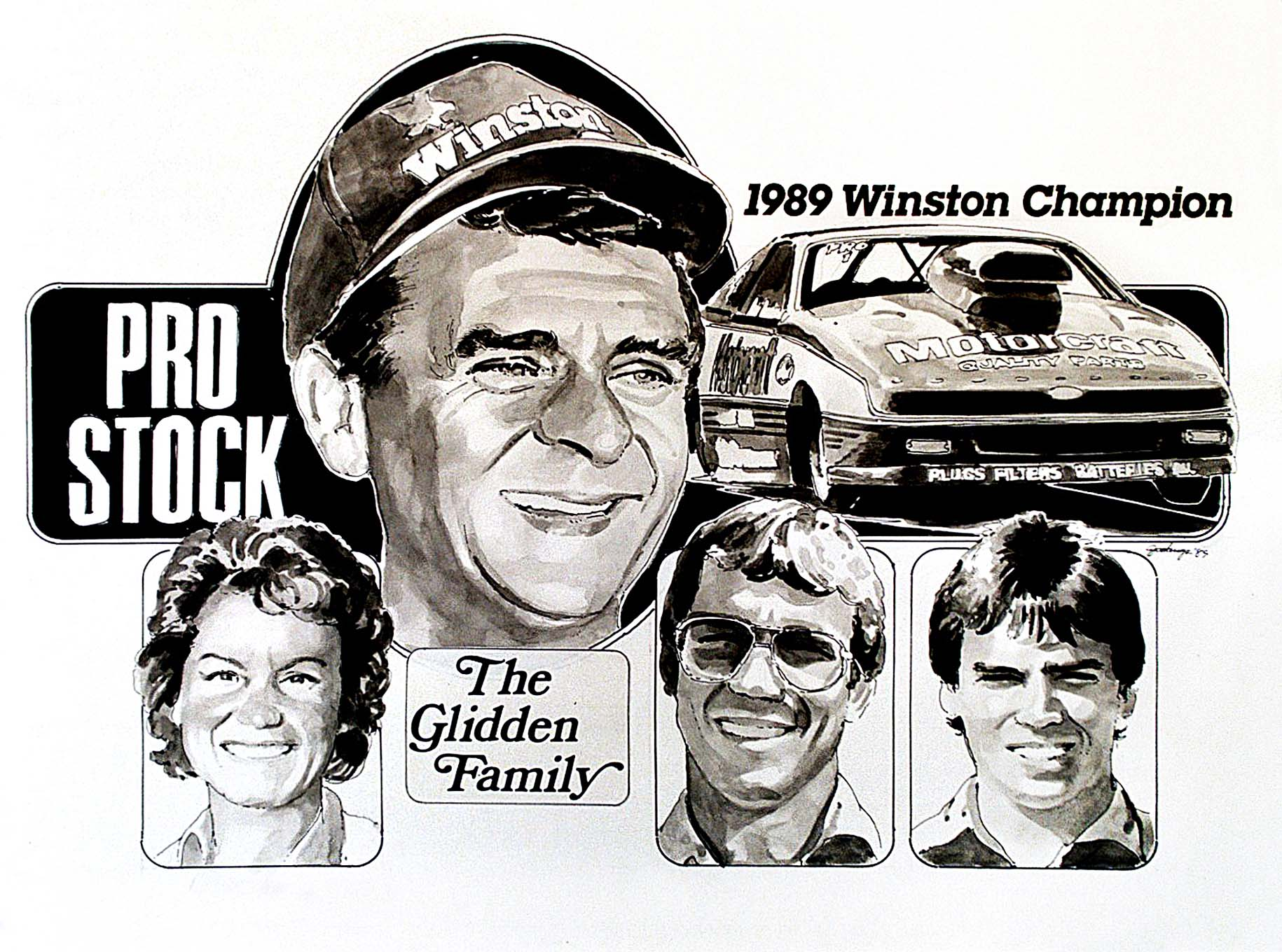 From the 1970s through the 1990s, Jodauga did many drag-racing portraits for National DRAGSTER, ranging from the Personality Profile illustrations that appeared on the cover to artwork to other efforts that commemorated each season's major champions, including this example of Pro Stock titlist Bob Glidden in 1989.