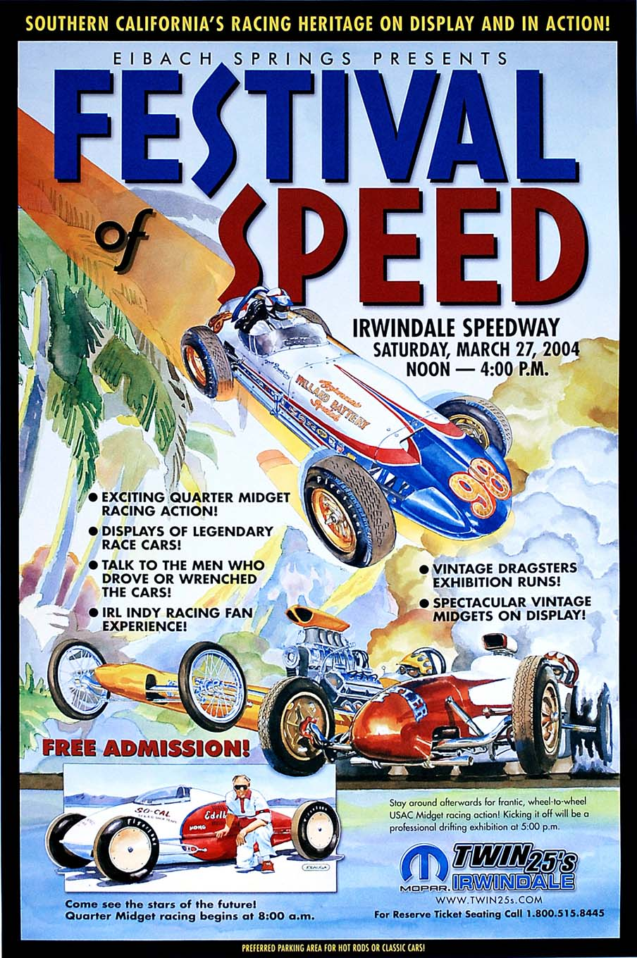 Although Jodauga's paintings have all been done by hand without the use of a computer, this illustration for Irwindale Speedway's Festival of Speed in 2004 utilized four separate pieces of artwork that were computer-composed.