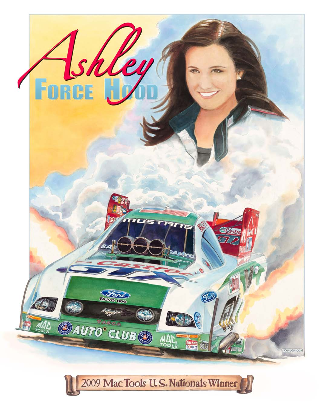 John Force commissioned Jodauga to create this painting of his daughter, Ashley, in 2009 that was presented to her at the 2009 NHRA Finals.