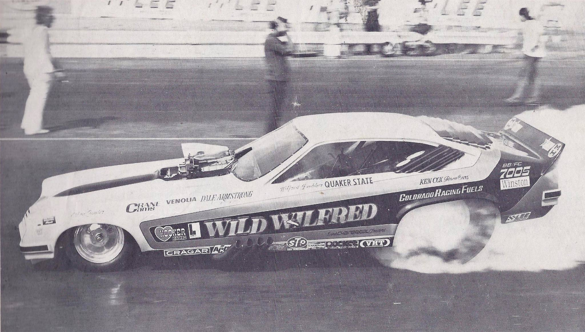 Weighing 1,735 pounds, including the driver, this lightweight featured a new Ken Cox chassis and employed an all-aluminum big-block Chevrolet. Initially fueled by injected nitro, it was switched to blown alcohol when Pro Comp emerged in 1974.