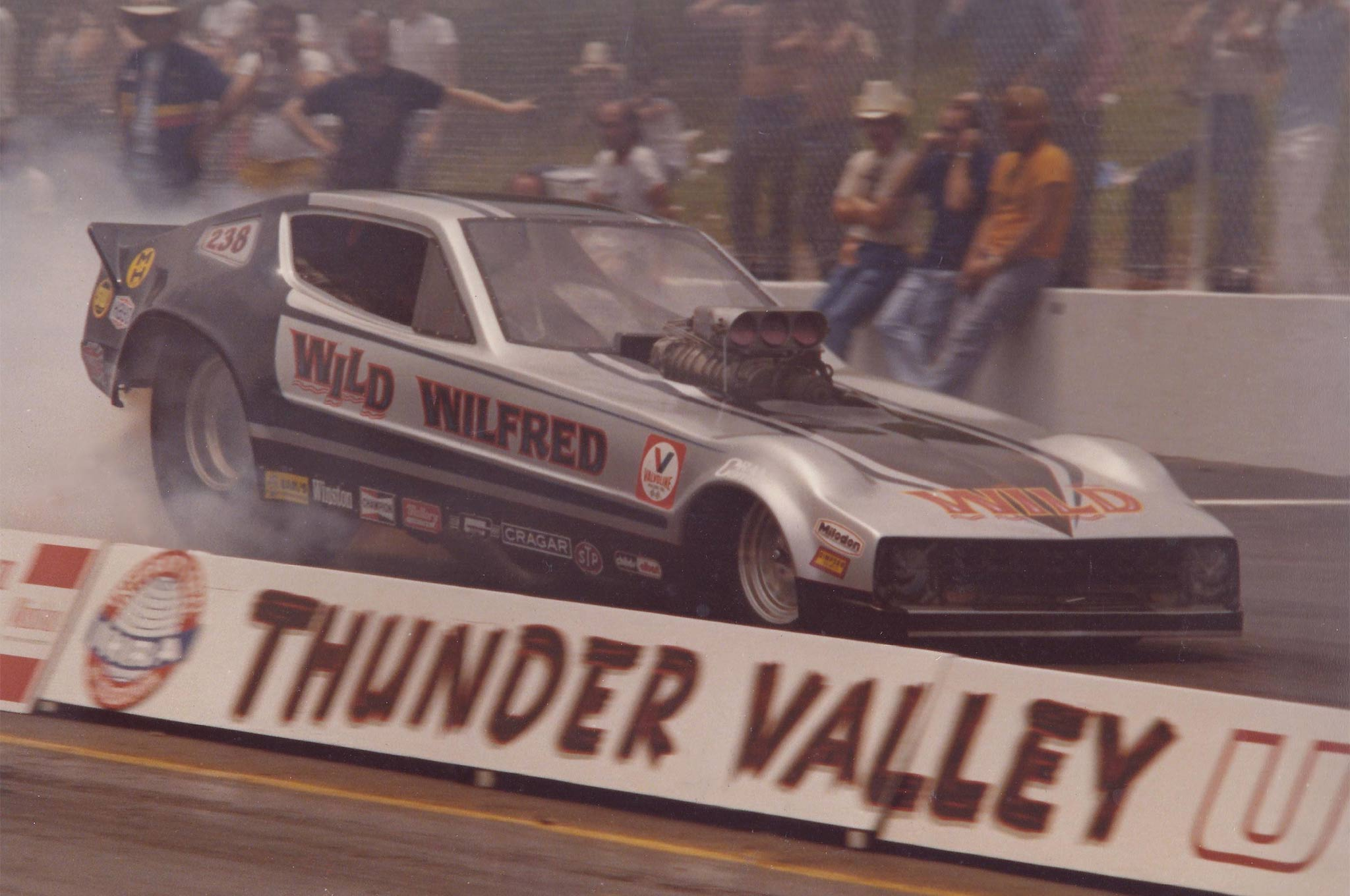 Boutilier's swan song: A Plymouth Arrow body shell on a Cox chassis powered by a Donovan block and heads served Wild Wilfred from 1979 until his racing career concluded in 1982.