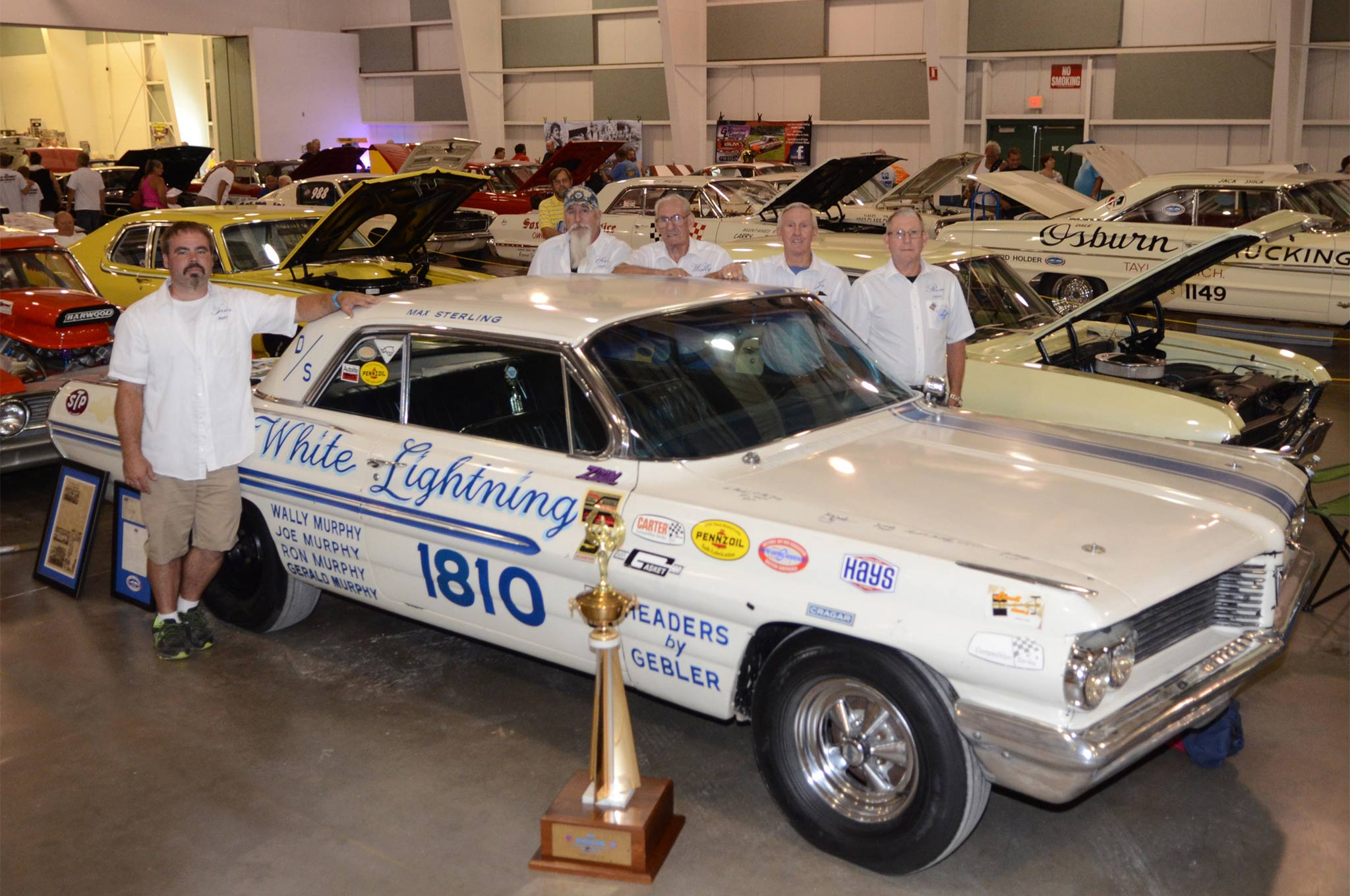 Current owner Kevin Tingler and members the Murphy family that once campaigned the D/S White Lightning 1962 lightweight Pontiac all came to York to display the original Super Duty machine.