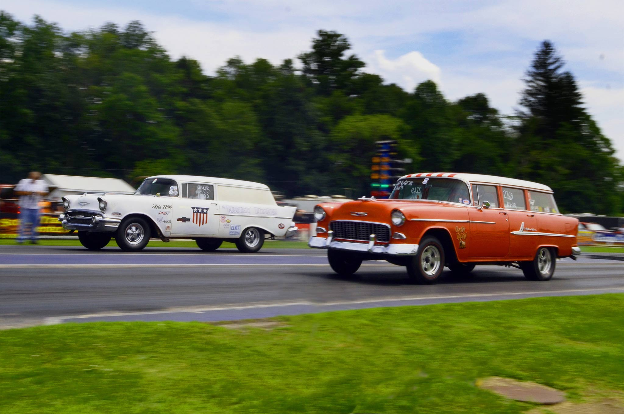 The winner of D1/JS at Beaver Springs was not one of the cars that displayed at York but a regular, Mike Szollosky from Wharton, New Jersey, seen in the foreground. McCardle told us that Mike and his dad make every Nostalgia event, Mike in the wagon and his dad in a yellow 1957 two-door post car, so they did have the most practice!