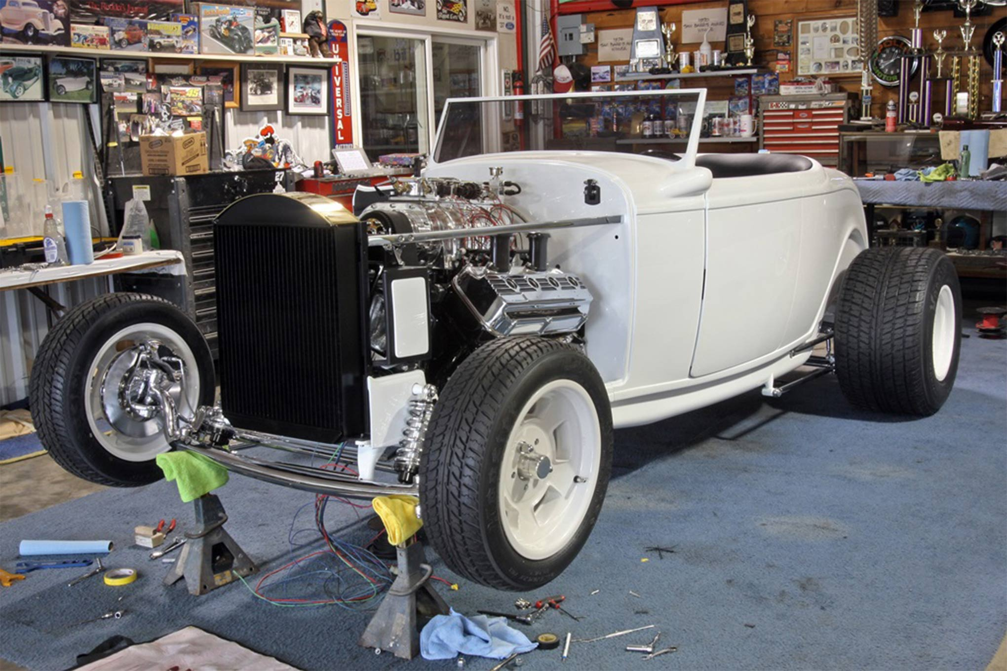 Gary Matranga's famous 1932 Ford roadster was a big hit at the 1989 Grand National Roadster Show, and will be returning for at the 2016 show. Our photos of the car undergoing restoration were shot at Tim's Hot Rods.