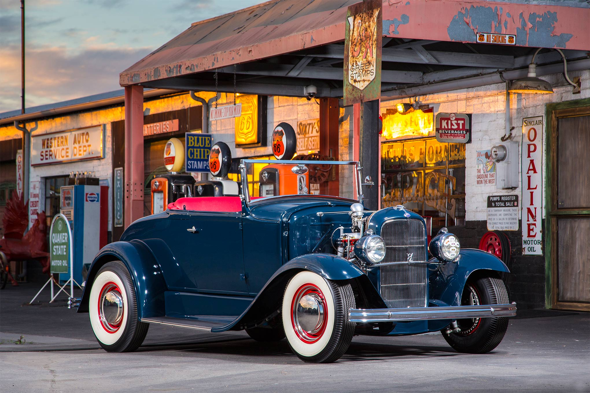 """Hot rodding can be a small world. We photographed Steve Lenain's roadster at Kasner's Korner Garage, as Bob Kasner and Steve are good friends. We appreciate Bob's hospitality, as his """"korner"""" has been the setting for two of our previous covers: Bob's historic three-window, the Bill Kelly coupe for our Jan. '16 issue, and Dennis Jones's patina-laden Model A gasser for the July '15 issue."""