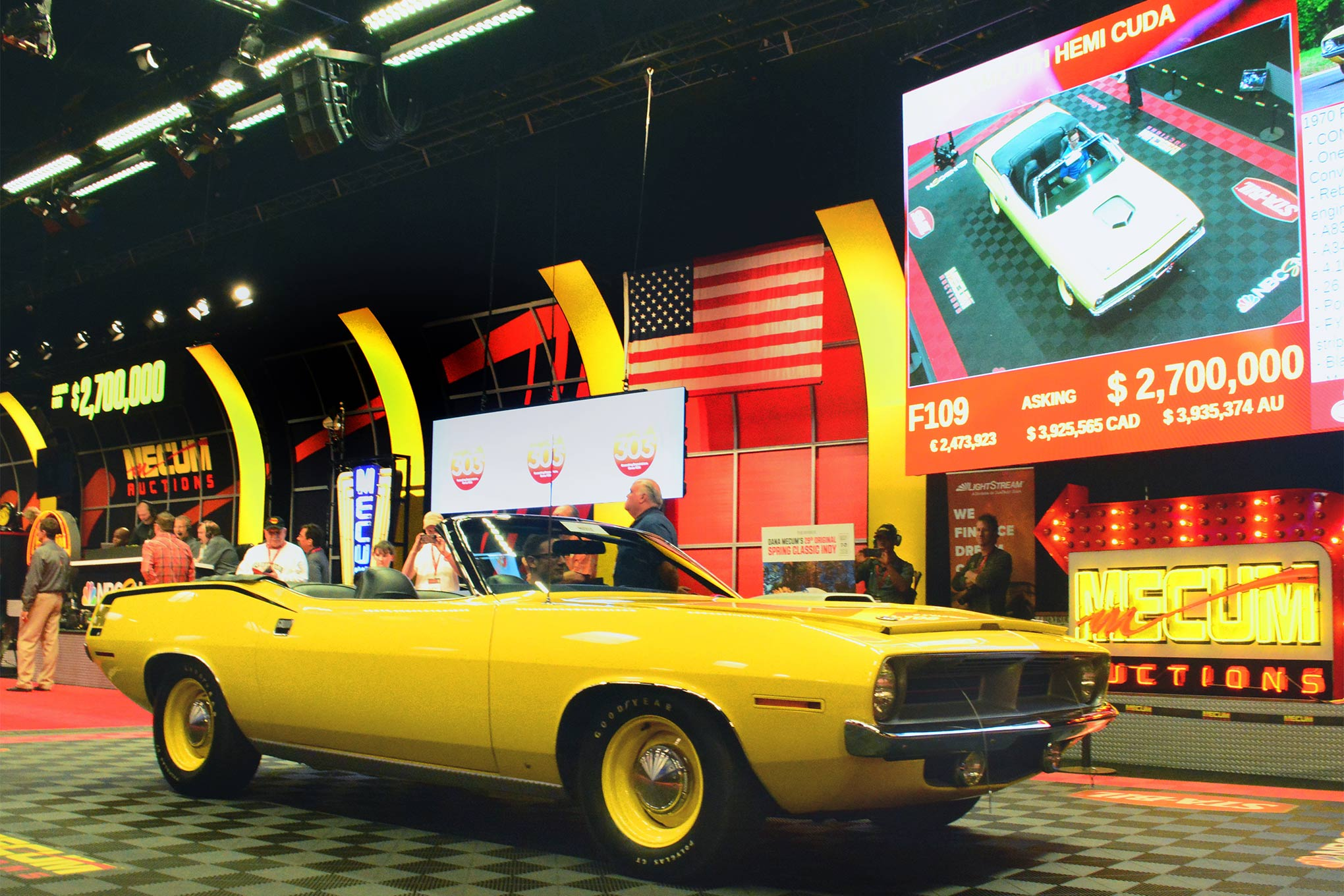 After spirited bidding, this is where lot F109 ended up, an asking price of $2.7 million that set a record for 1970 E-body convertibles.