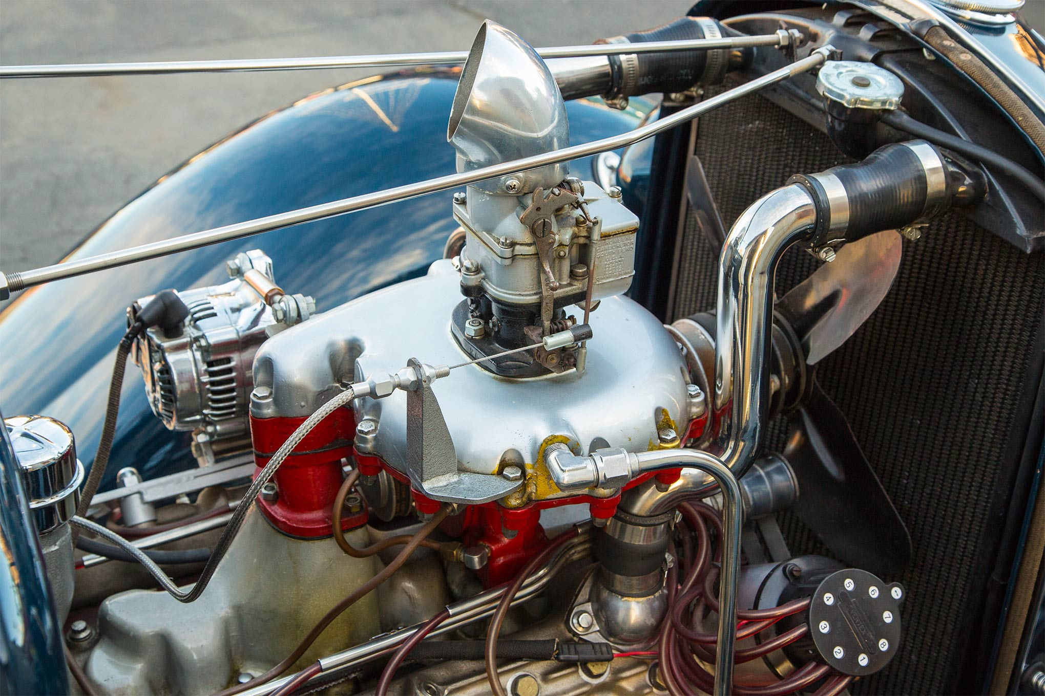 """Here's the part that spawned this entire car: a rare late-'30s McCulloch supercharger. Period magazine ads for the """"Mighty McCulloch Supercharger"""" touted """"power that defies the steepest hill…plows through stubborn desert sands…makes you master of all traffic."""" All that and 124 hp could be yours for just $84.50."""