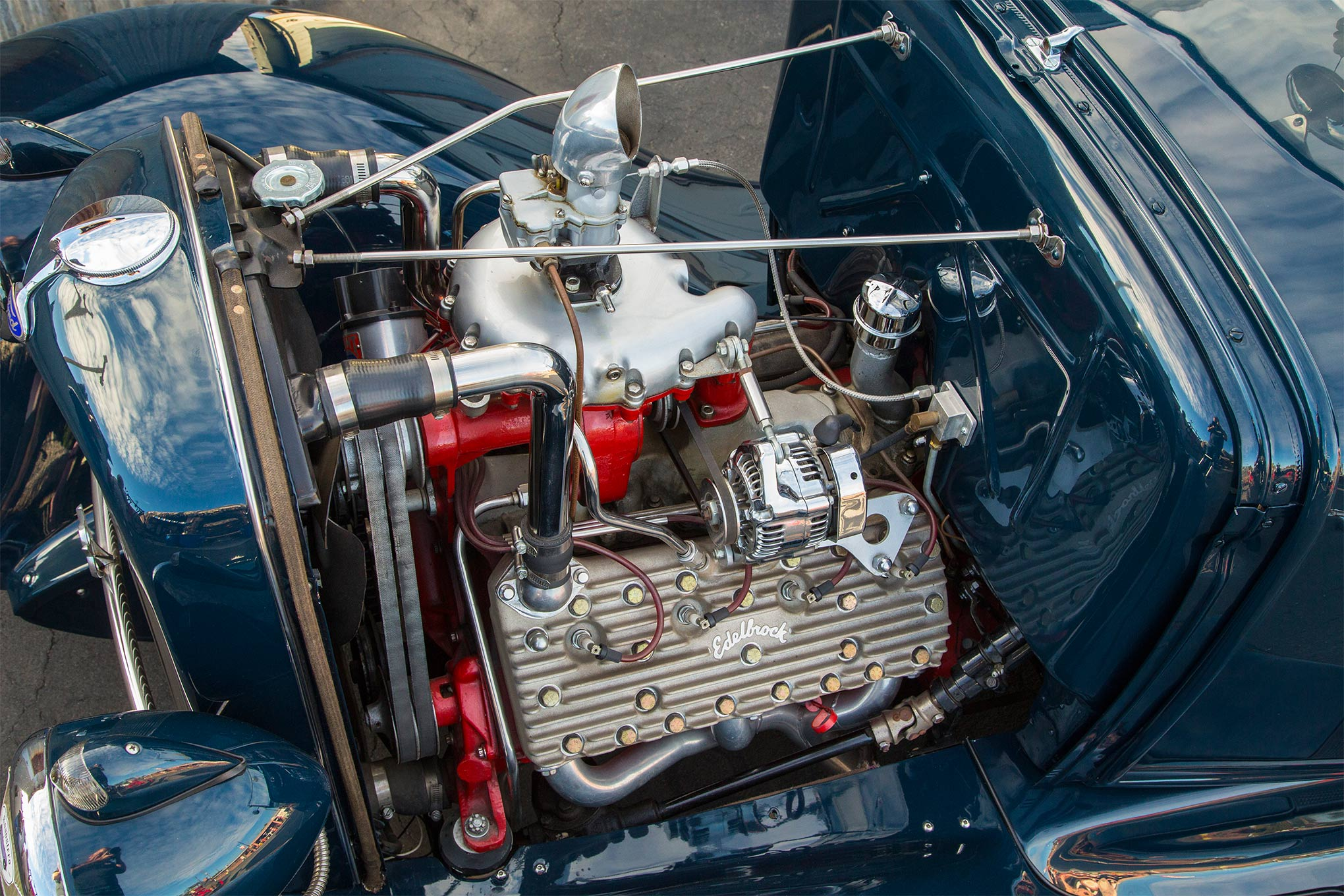 When it was time to get the supercharger off the shelf, Steve mounted it on a '50 Merc 8BA flathead backed by a '50 Merc three-speed overdrive transmission. The centrifugal blower is mounted on a '36 Ford intake manifold and topped by a Stromberg 97.