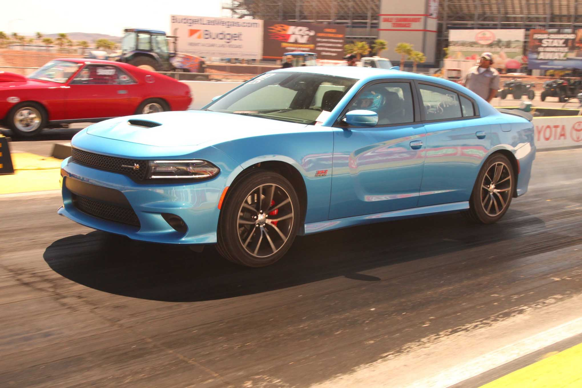 Scat Pack 392 machines are made in two flavors—Challenger R/T and Charger R/T, like this one piloted at last year's MATS by Elana Scherr of Hot Rod magazine. Totally stock, it went 12.80s with the OE tires. We've since gone 12.0s with a lightly modded Scat Pack Challenger auto and stock tires.