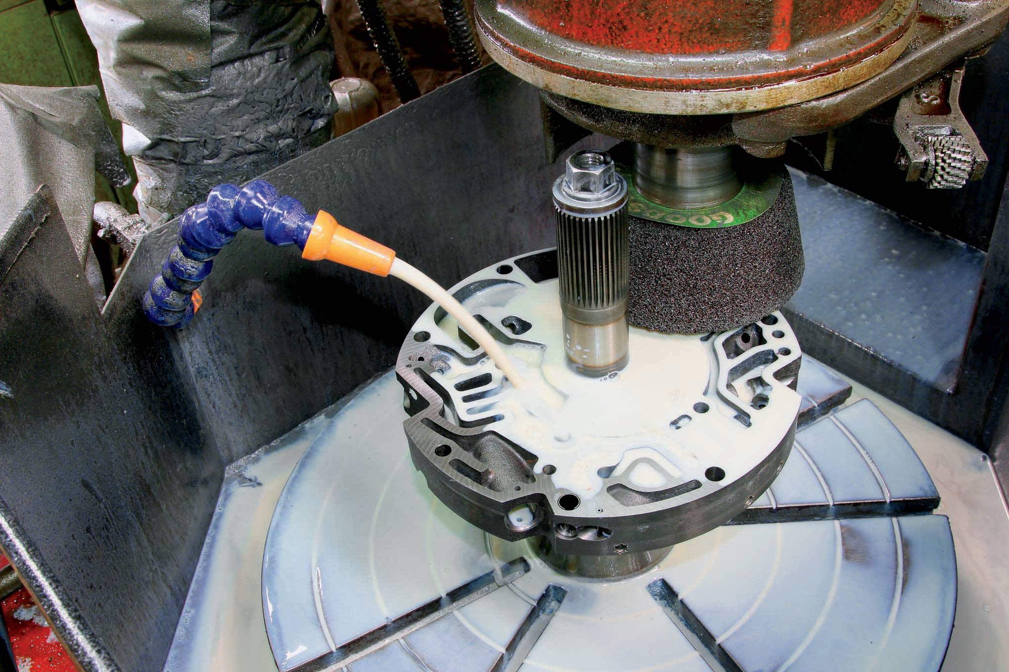 To ensure true and flat sealing surface, prevent cross leaks between pump stator and pump body, and eliminate cavitation of the pump gear set and/or torque converter, Hughes machines the mating surfaces.