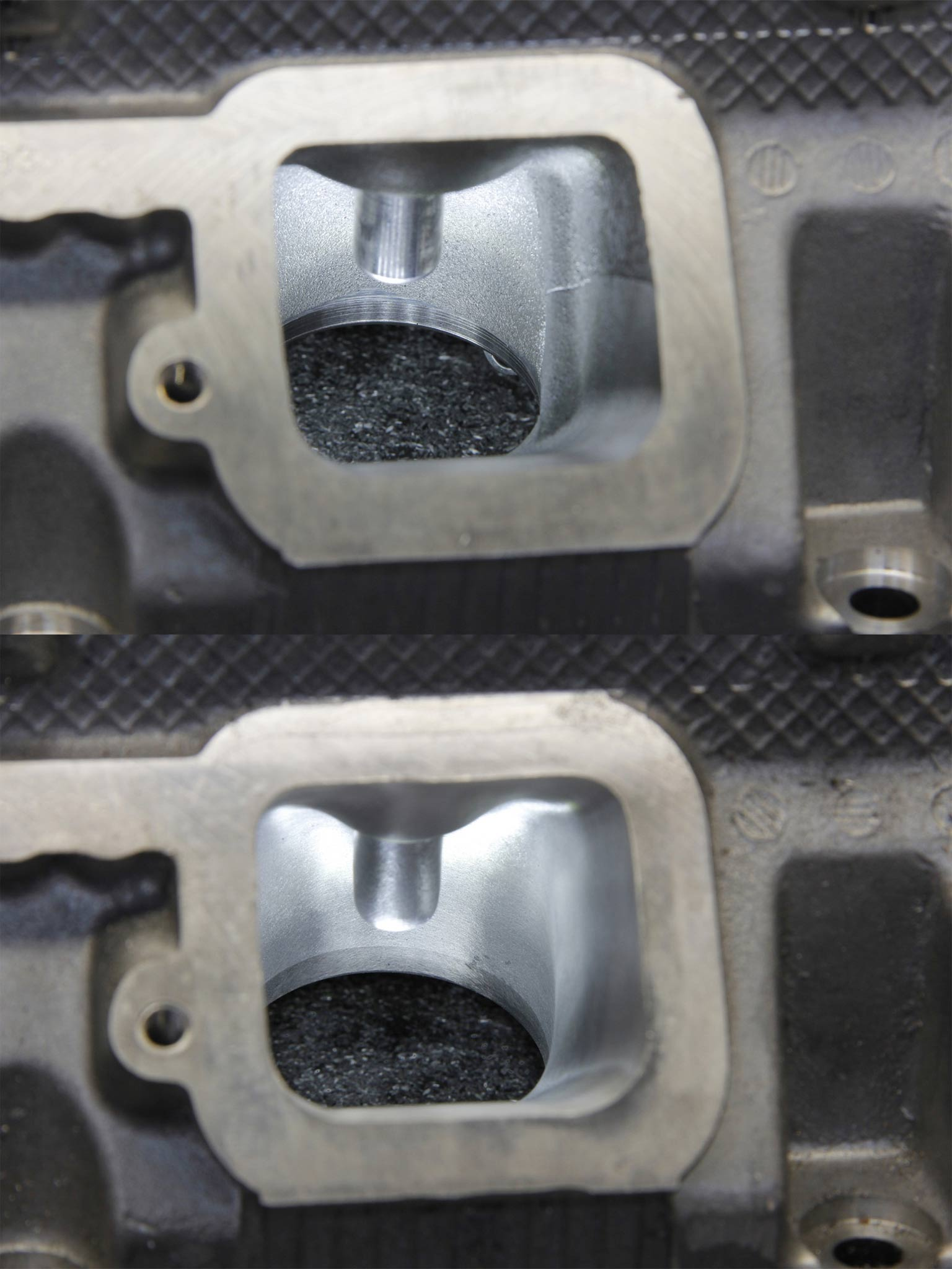 4. In this photo you can see the pushrod bump on the right that is cast into the head. Reducing it increases the volume inside the port without making the cross sectional area larger. This trick increases volume without reducing air velocity.