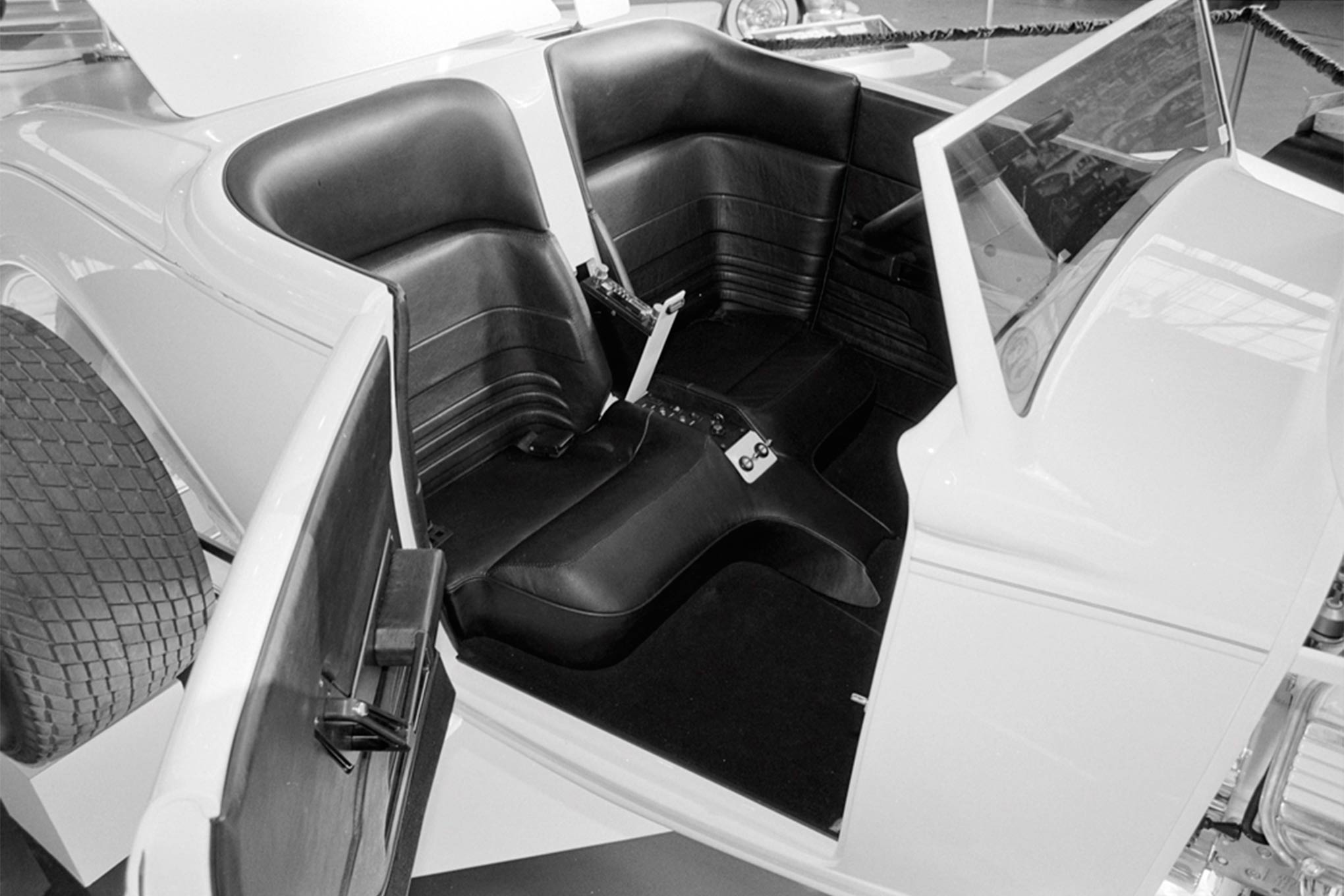 The custom black leather interior as it looked in Oakland way back when. We'll be seeing it again in Pomona soon.