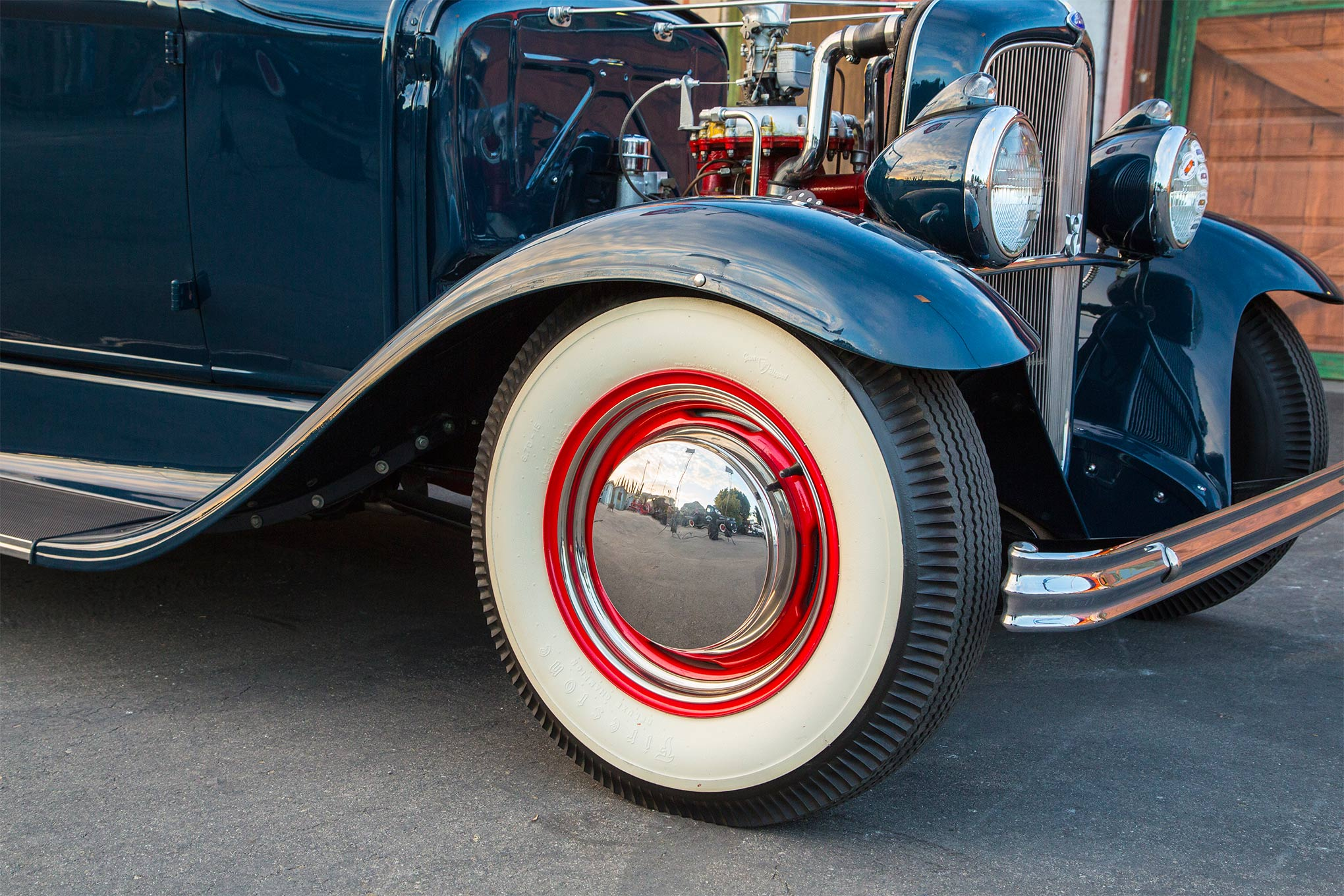 Rolling stock consists of '50 Mercury wheels and caps front and rear mounting Coker Firestone wide whites.