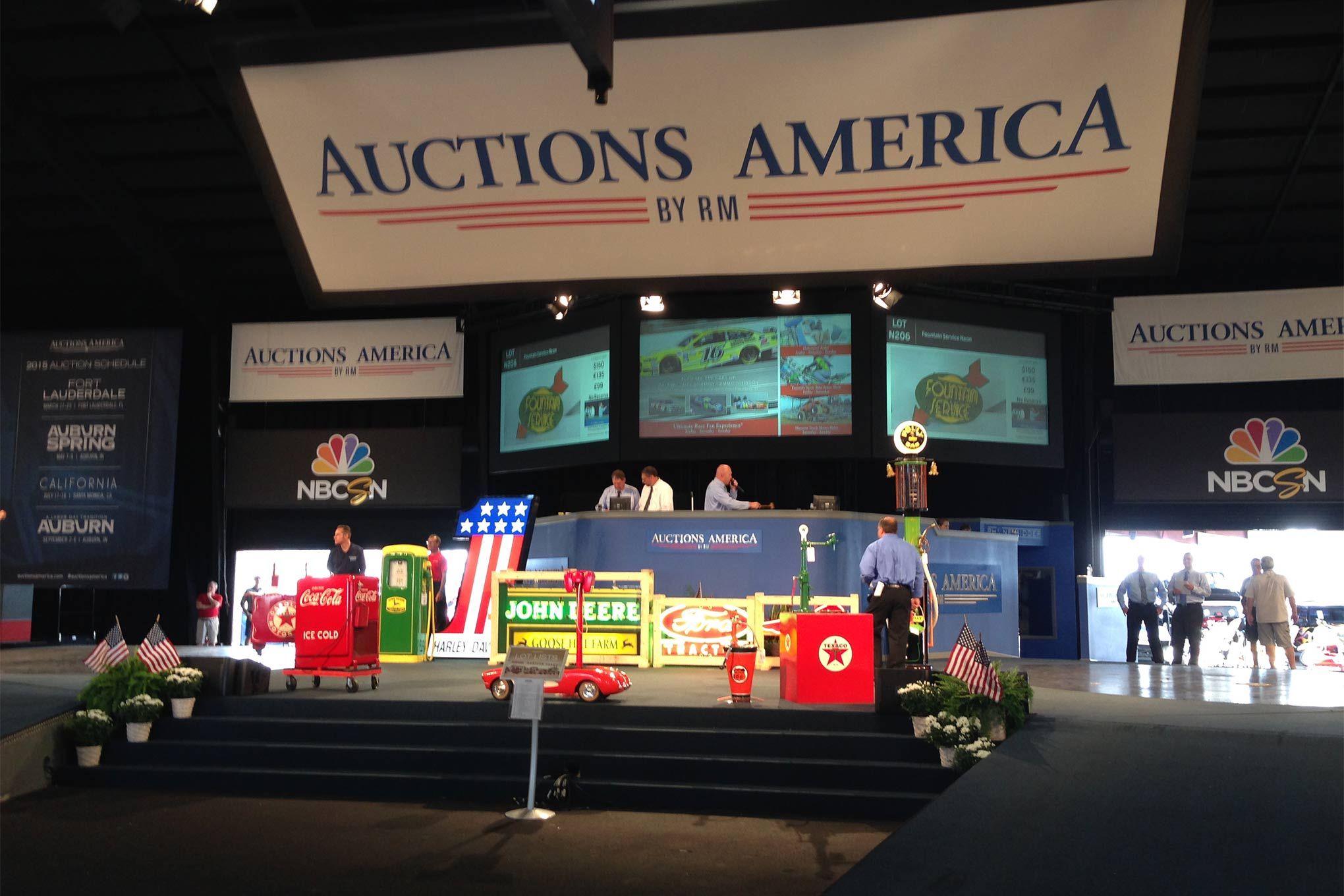 The Shades of the Past Tour began the week in Auburn, IN. We were special VIP guests at the Auction America grounds and got to watch the auction activity all weekend.