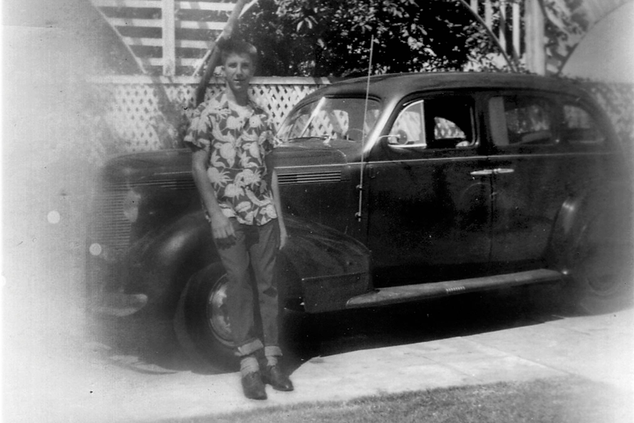 "Seen with his dad's 1937 Pontiac Dick would maintain the car to keep his driving privileges ""current""."