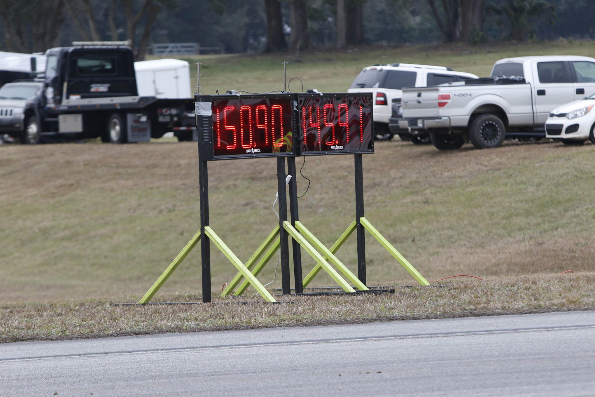 Most of the Dodge Hellcats ran through the timing lights at just under 150 mph