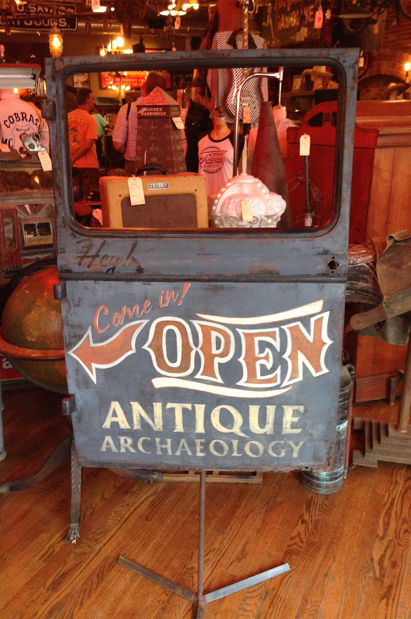 We were greeted by a unique open sign at Antique Archeology in Nashville. While Mike and Frank were not around the day we visited, we recognized many items that have been featured on American Pickers.