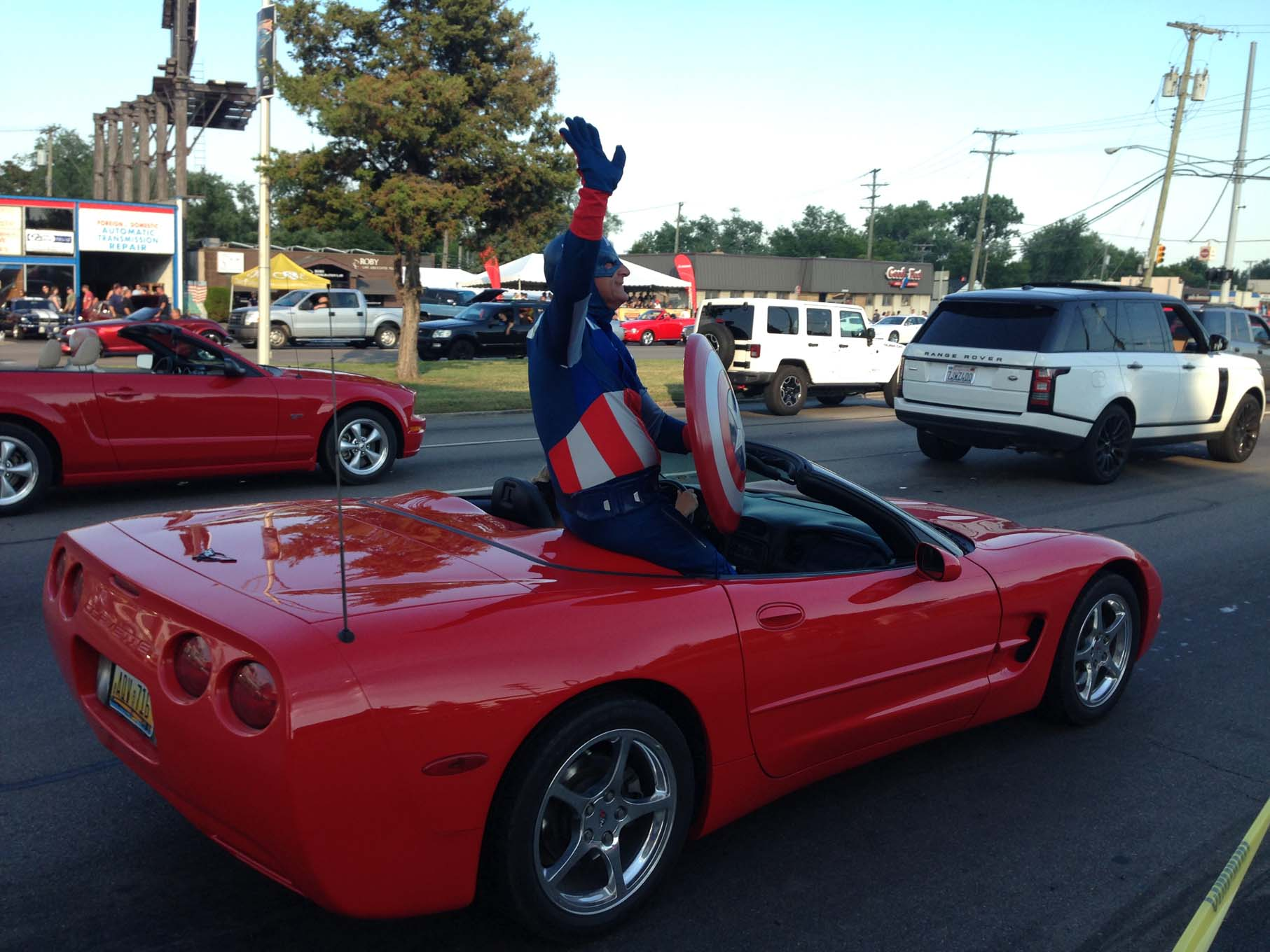 Only at the Dream Cruise would you find a grown man dressed up as Captain America riding in a Corvette convertible. People having fun with cars is what the event is all about … much to the delight of both participants and the huge number of spectators.