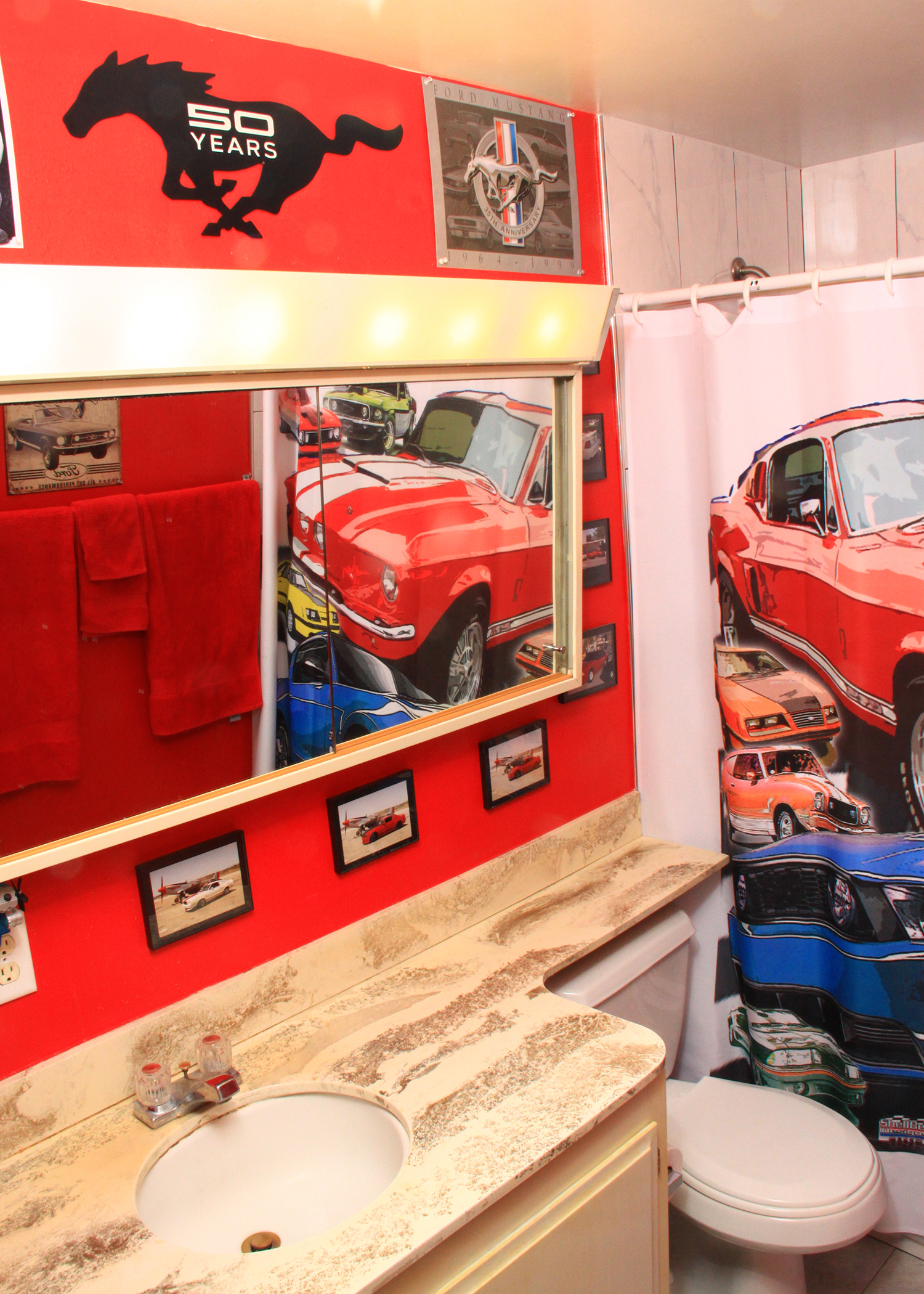 How's this for a Mustang tribute? Taylor and her dad turned the main upstairs bathroom of their home into a Mustang museum.