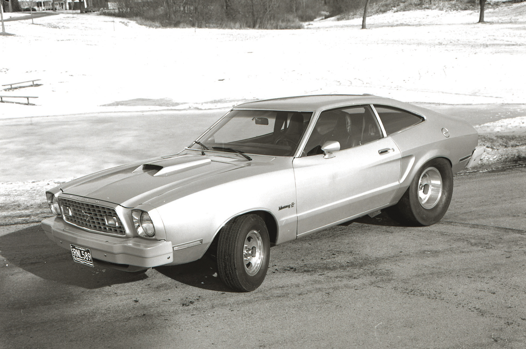 "Gray Baskerville's photo from 1976. We still don't know why he decided to ""road test"" the car during a Michigan winter, but it did make for some interesting photos."