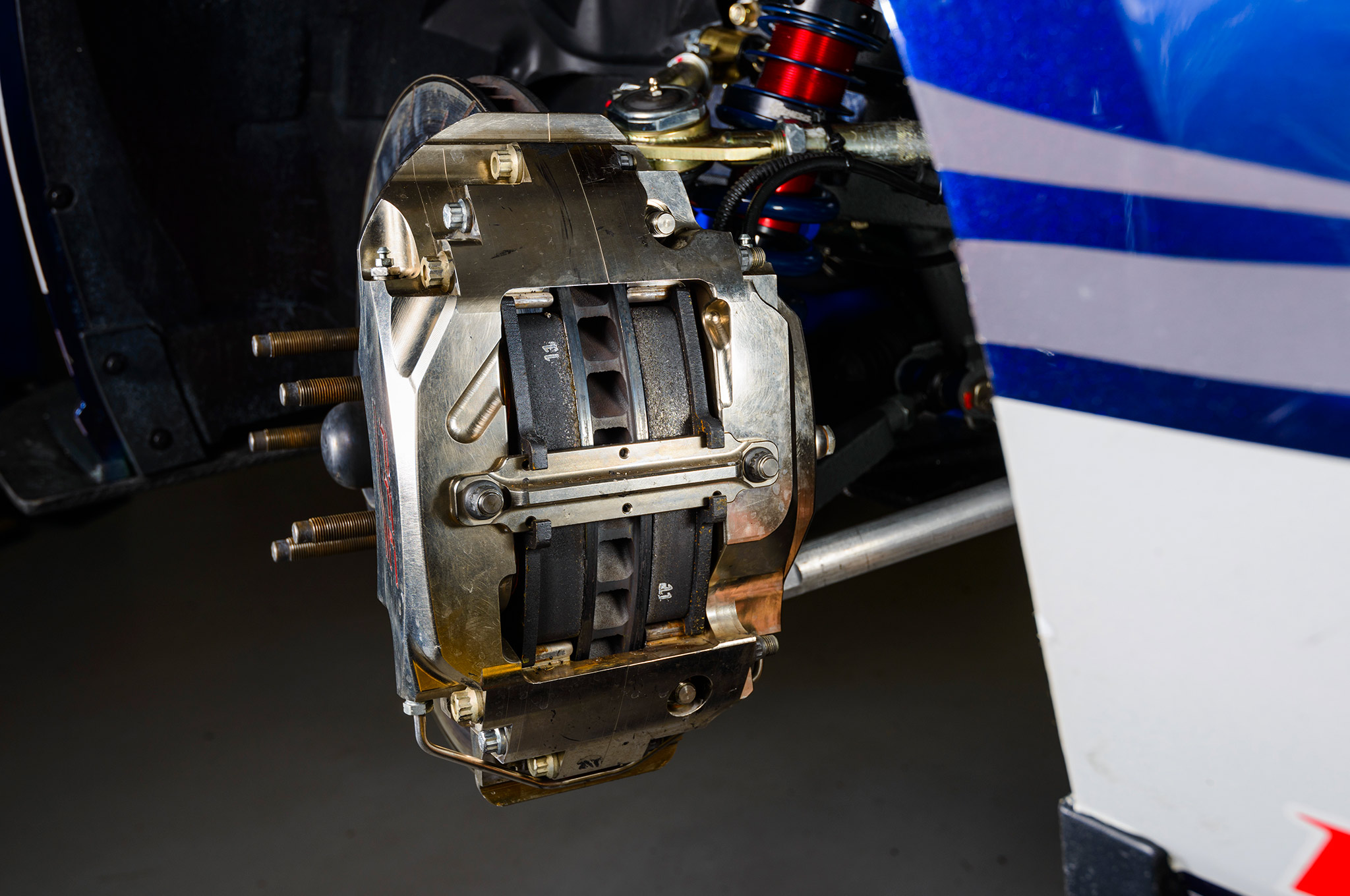 Got pads? The endurance-racing style six-piston calipers can accommodate pads that will endure several hours of racing. There's even a quick-change caliper bridge that pulls both pads simultaneously.