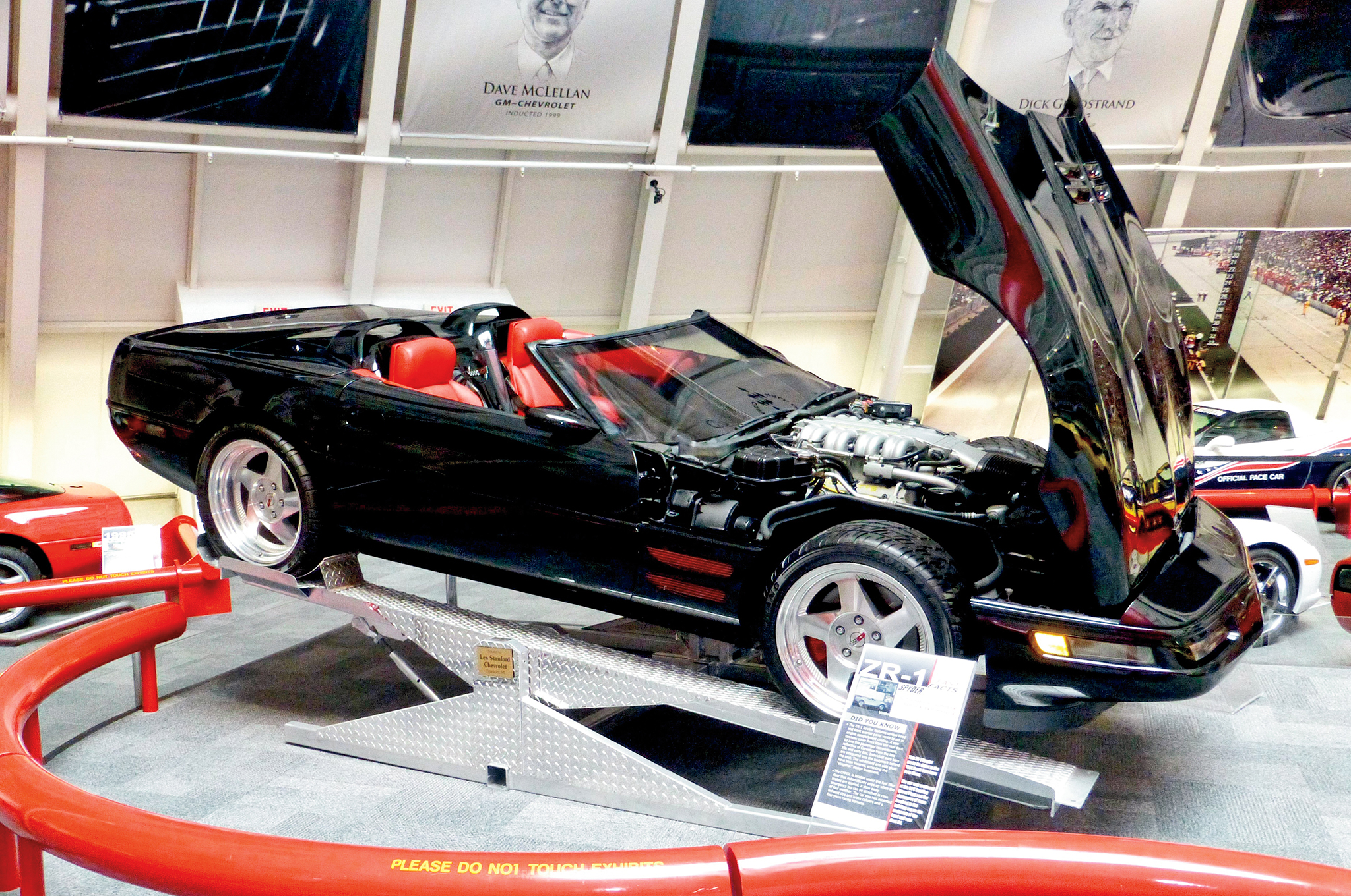 The assembly plant repainted the Spyder black and added a Torch Red interior. This is how it looked when it was displayed while on loan from Chevrolet. The ZR-1 engine remained stock.
