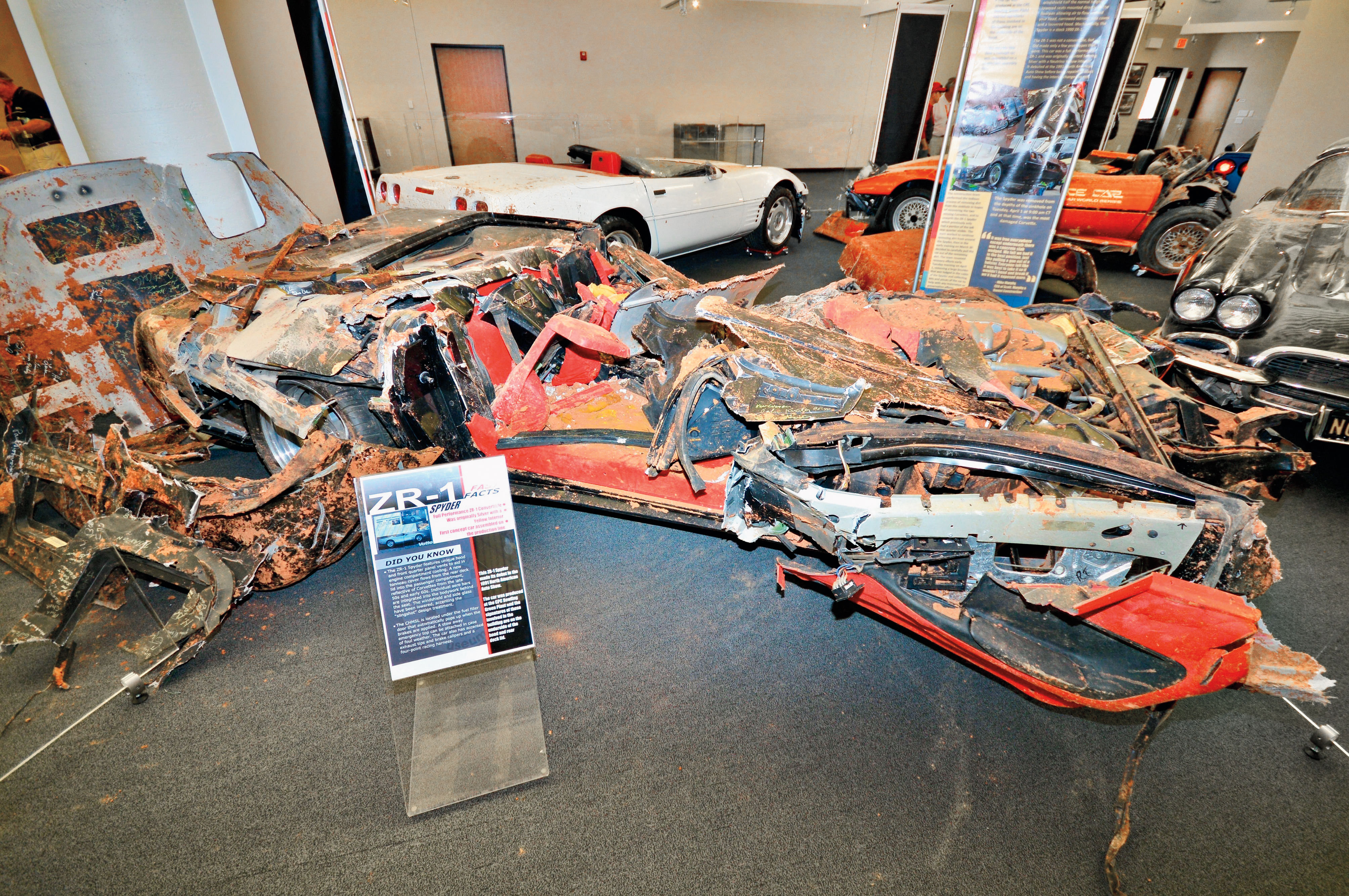 This is how the ZR-1 Spyder looked with it arrived at the Bowling Green assembly plant to be refurbished. Notice some of the discarded body parts in the background.