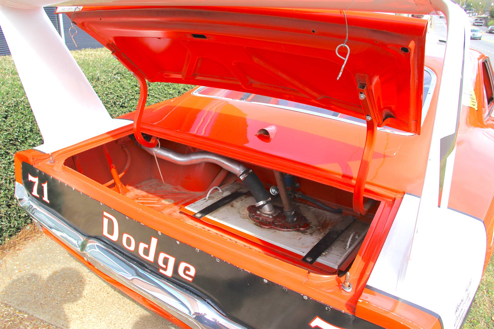 "The fuel system was flushed and checked, the gas tank was taken out and its foam surround checked and replaced, and reproduction tires were mounted to the original steel wheels. Note the ""crows feet"" supports for the wing."
