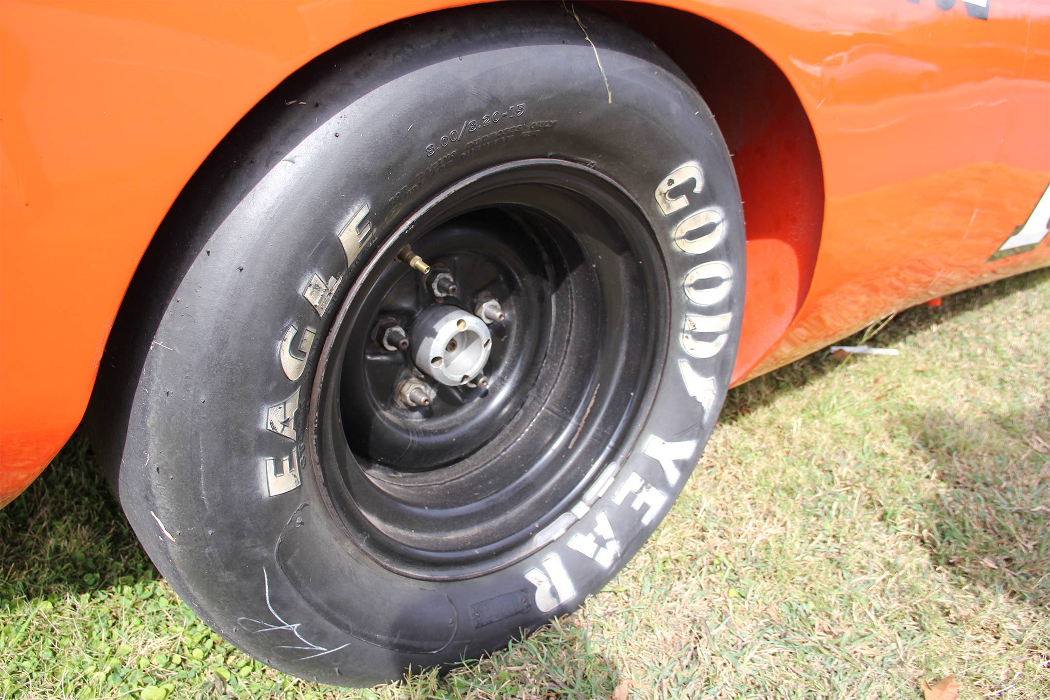 Goodyear placed cameras low on the car during practice laps to record tire deflection at Talladega. After revealing so much deflection that it looked like the tires might come unseated from the rims, Goodyear chose not to allow the drivers to see the film, the condition was so dramatic. These are the original wheels with contemporary tires.