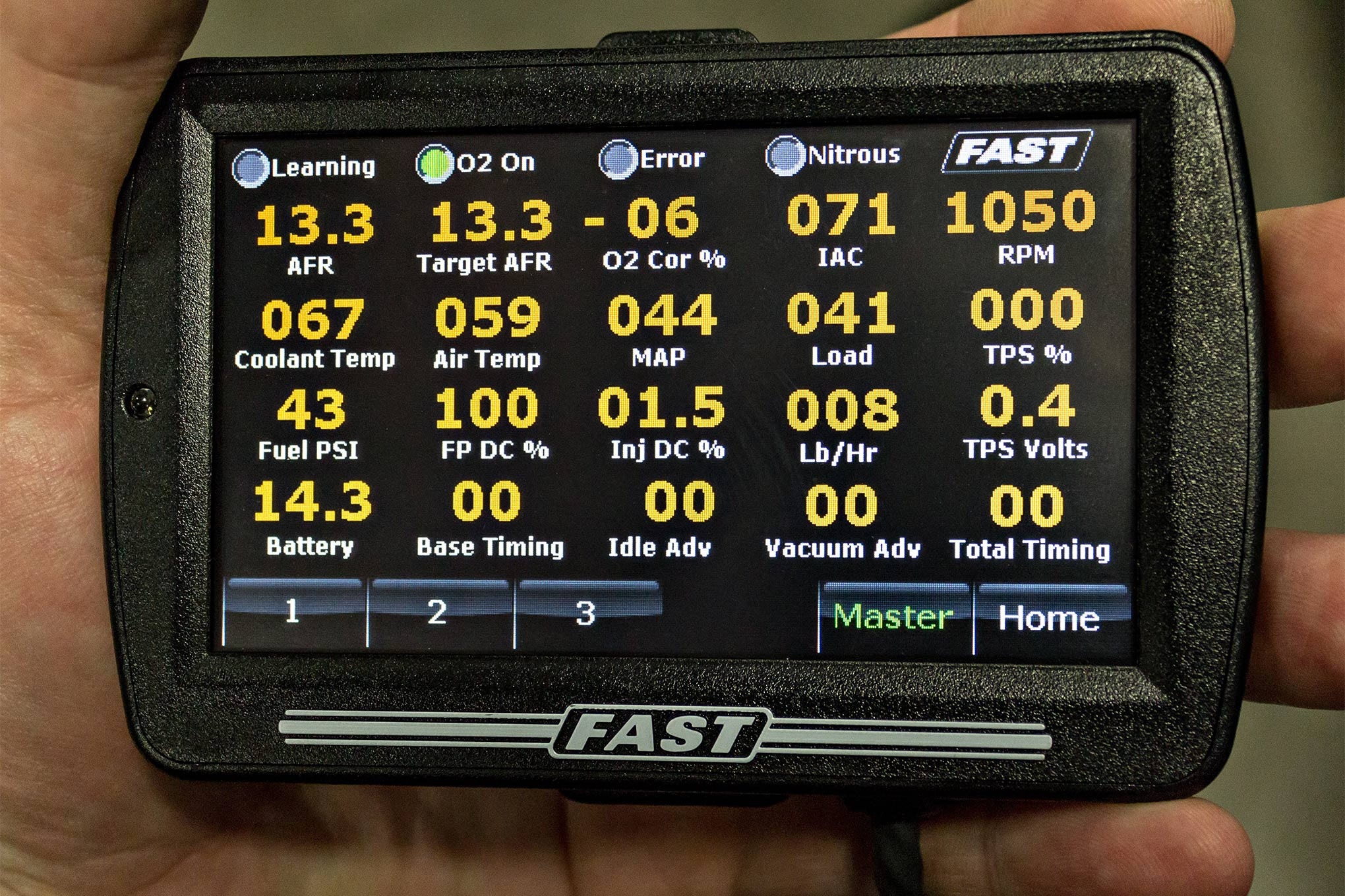 One option to monitoring your engine with the Sportsman 2.0 is to use the eDash Sensor Dash/Touchscreen Handheld Tuner in place of a laptop. You'll still need a laptop to set up the system, but then this screen can be stuck to your windshield so you can easily monitor your sensor output in real time. Watching the target A/F and actual A/F along with the O2 correction percentage and the current VE value will quickly allow you to monitor the accuracy of your overall tune.