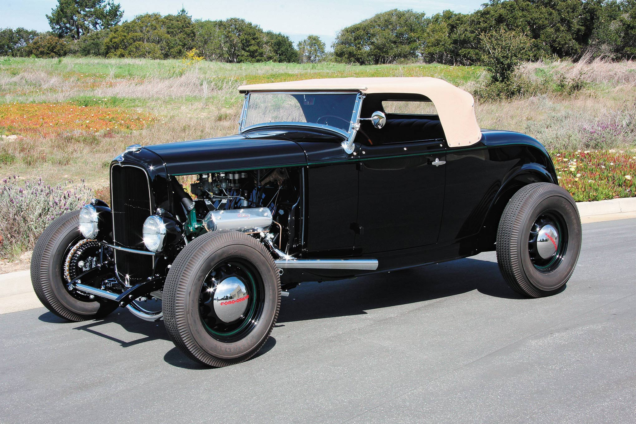 """Don Orosco's period-perfect Deuce roadster has Kinmont disc brakes in all four corners. That engine is a 21-stud Flathead V-8 with one of George Riley's OHV conversions. This Deuce would have been a """"bucks up"""" car back in the day."""