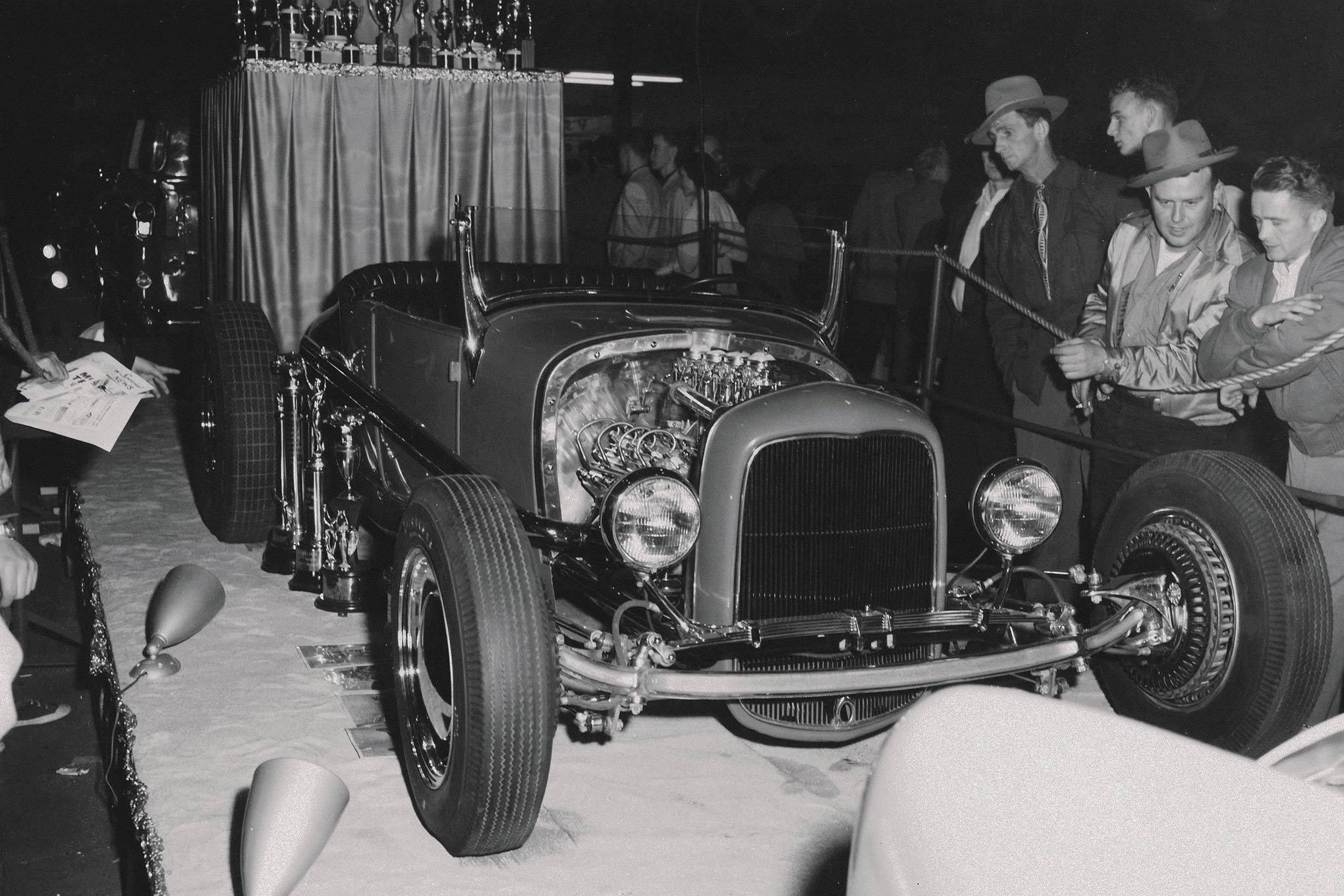 """Fitted with Kinmont brakes in the front, Dick Williams' immaculate '27 T won the AMBR at """"Oakland"""" in 1953. Its chromoly tubular chassis was a breakthrough. Later this car turned 123.636 mph at Bonneville. This roadster appeared at Pebble Beach in 1997; it's now owned by Blackie Gejeian."""