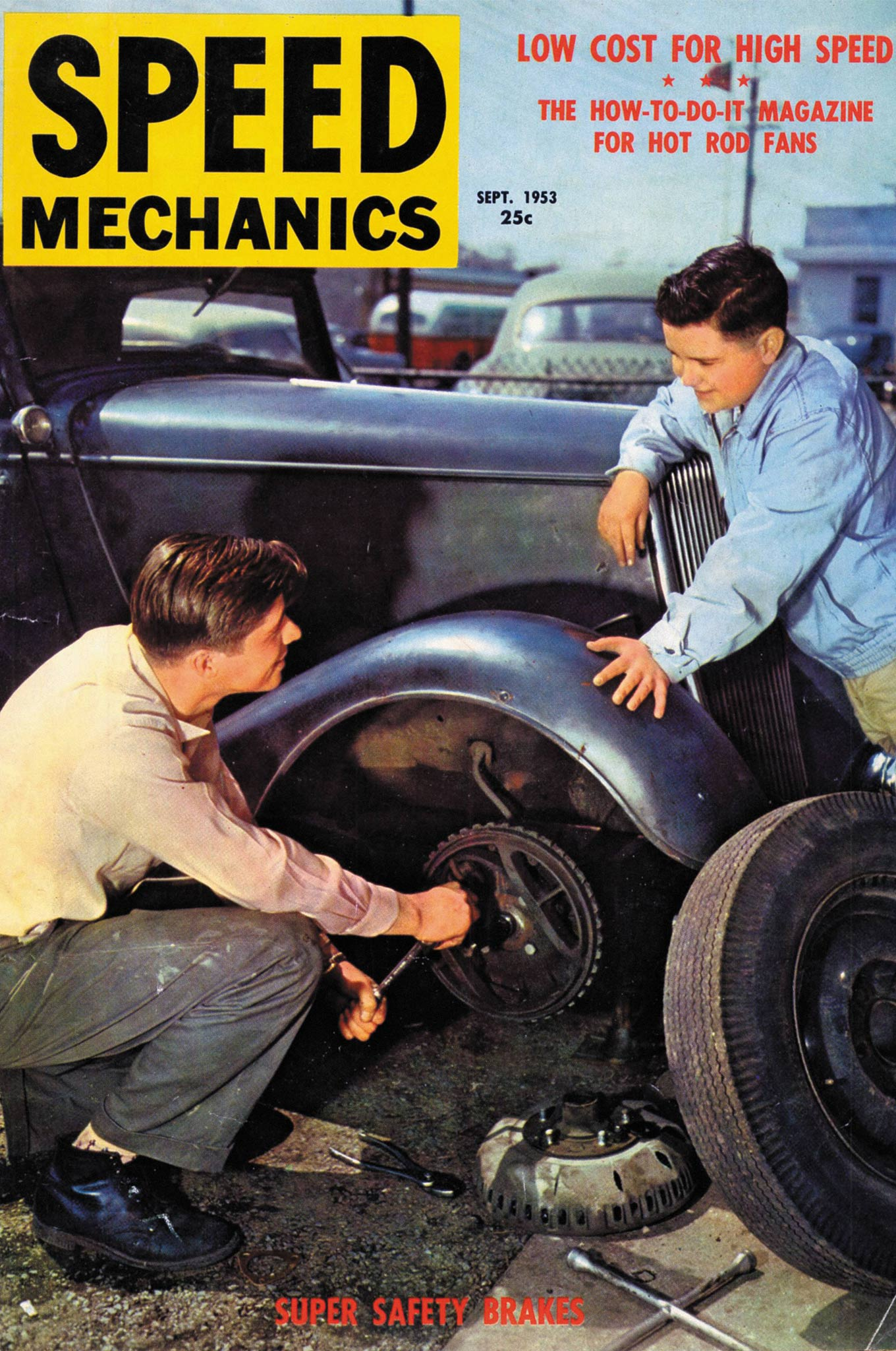 """In September 1953, Speed Mechanics ran a teaser article on Kinmont brakes. They called them """"Kimmott"""" Super Safety Brakes and showed them on Walter Werner's  '34 Ford cabriolet. At the end of  the text, Speed Mechanics told its readers the brakes """"were no longer  in production."""" All of the Kinmont Safe Stop  brake parts are unique. Ample vents and slots ensure a steady flow of cooling air."""