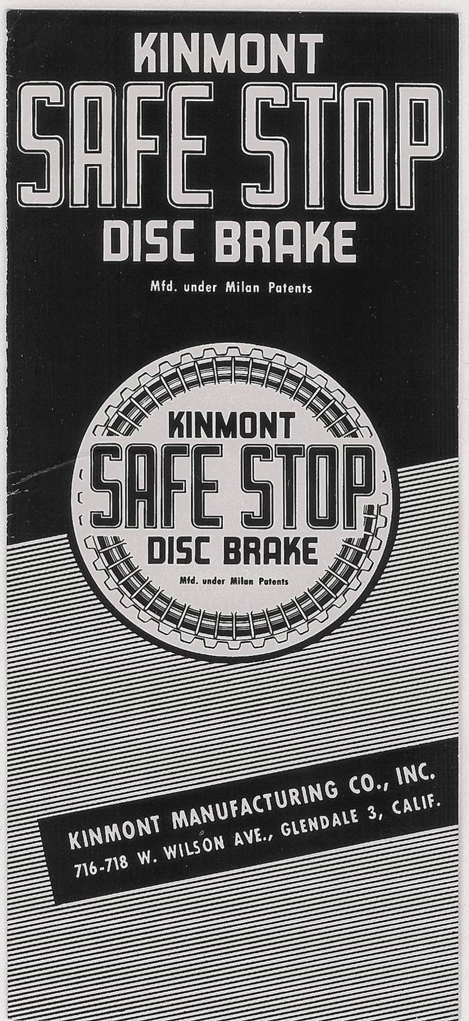 Kinmont advertised its brakes with this little brochure, stressing extensive testing, police and government approval, racing successes, quality materials, and construction—all to no avail. It appears that few companies and authorities bought them for taxi and fleet use. Hot rodders purchased most of the 325 or so complete sets made, mainly from Bell Auto Parts, in Bell, CA, arguably as much for their finny good looks as their proven stopping power.