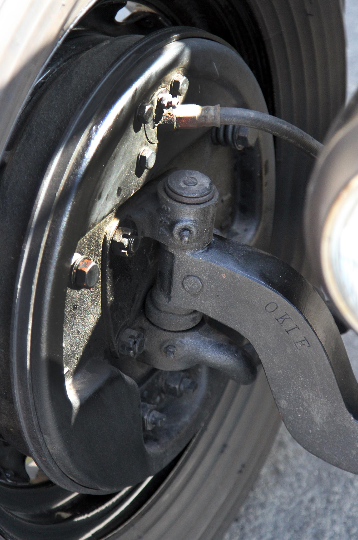 """The front axle for the '34 is a very rare Okie Adams drop axle. Carl """"Okie"""" Adams worked for Blair's Speed Shop, where he would drop his axles. Most of the axles he dropped were stamped with """"Okie"""" in them, like this one. However, some without the stamping have surfaced as well."""
