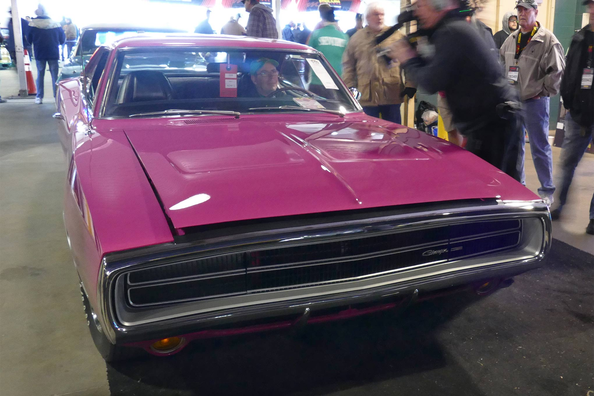 It takes a real man to drive a pink car, and this one cost $72,500. This is a 1970 Charger 500 in FM3 Panther Pink with a 383 four-barrel engine and Pistol Grip four-speed as factory equipment.