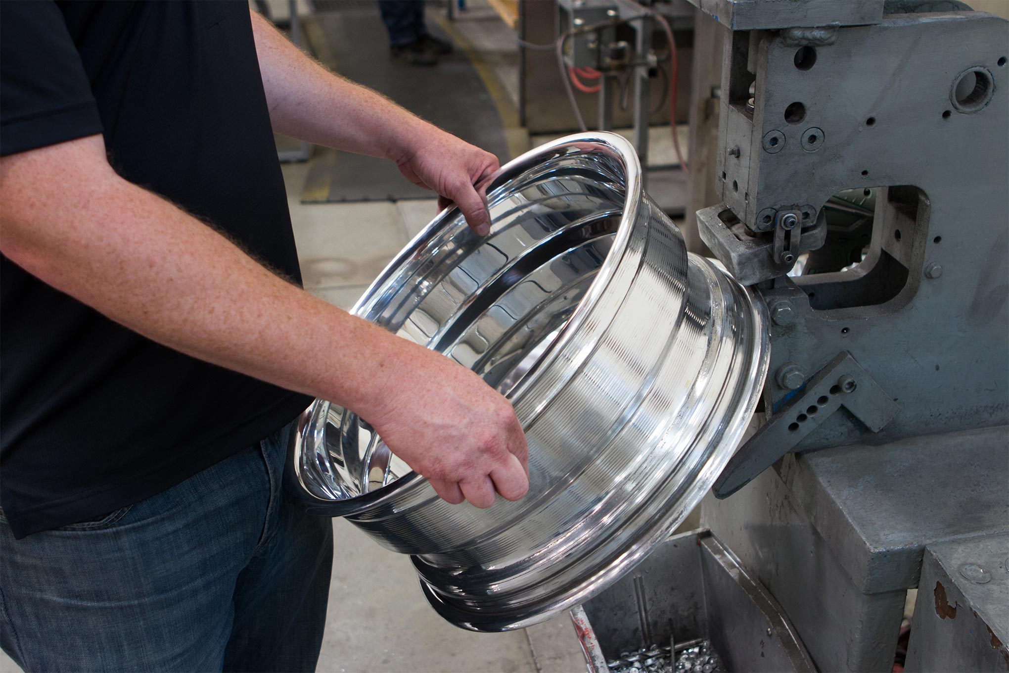 A polished rim shell is then punched with a 7/16-inch hole for a valve stem.