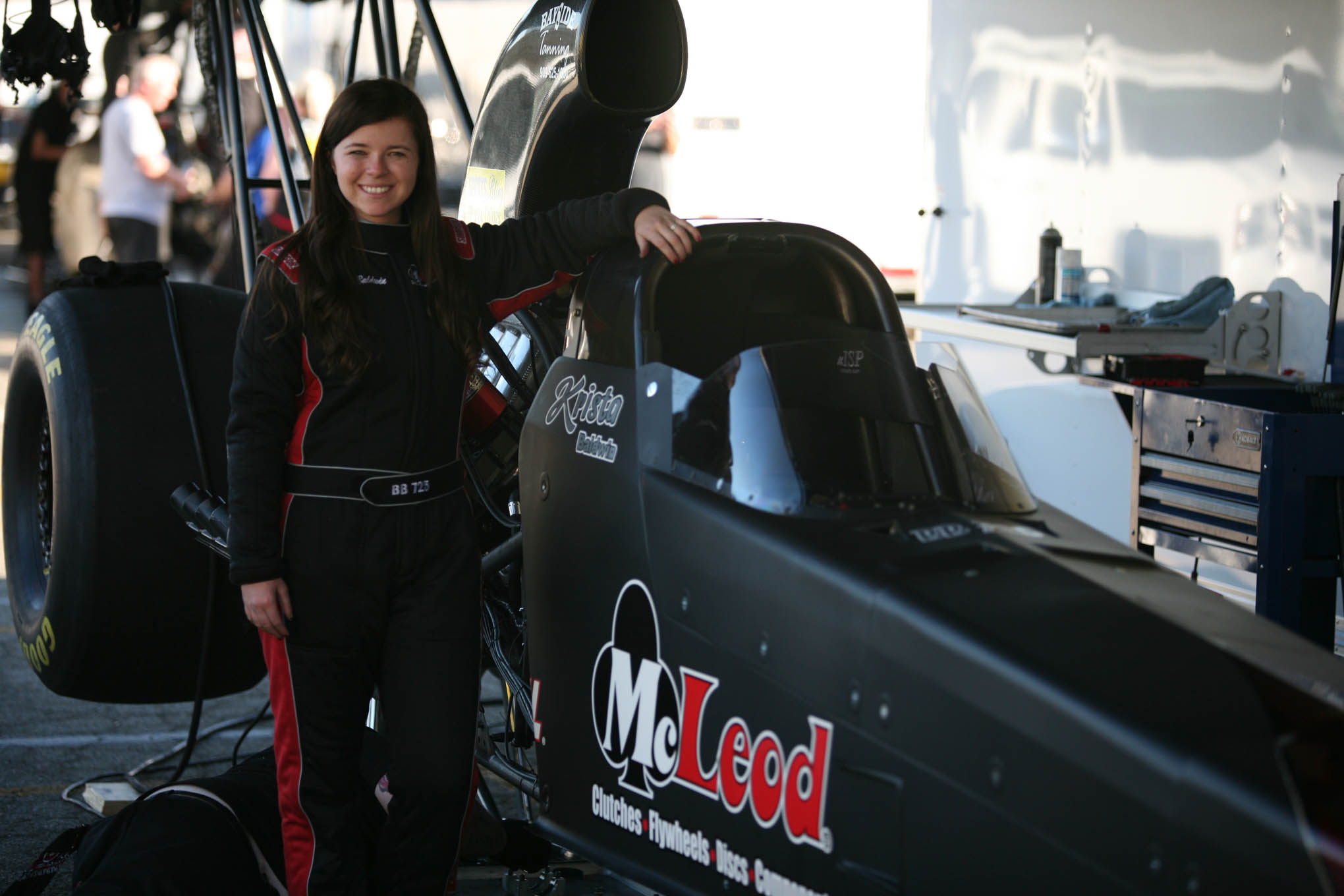Krista Baldwin debuted her new ride at the Winternationals. The chassis of the McLeod Racing dragster used to be a Bob Vandergriff Top Fuel car.